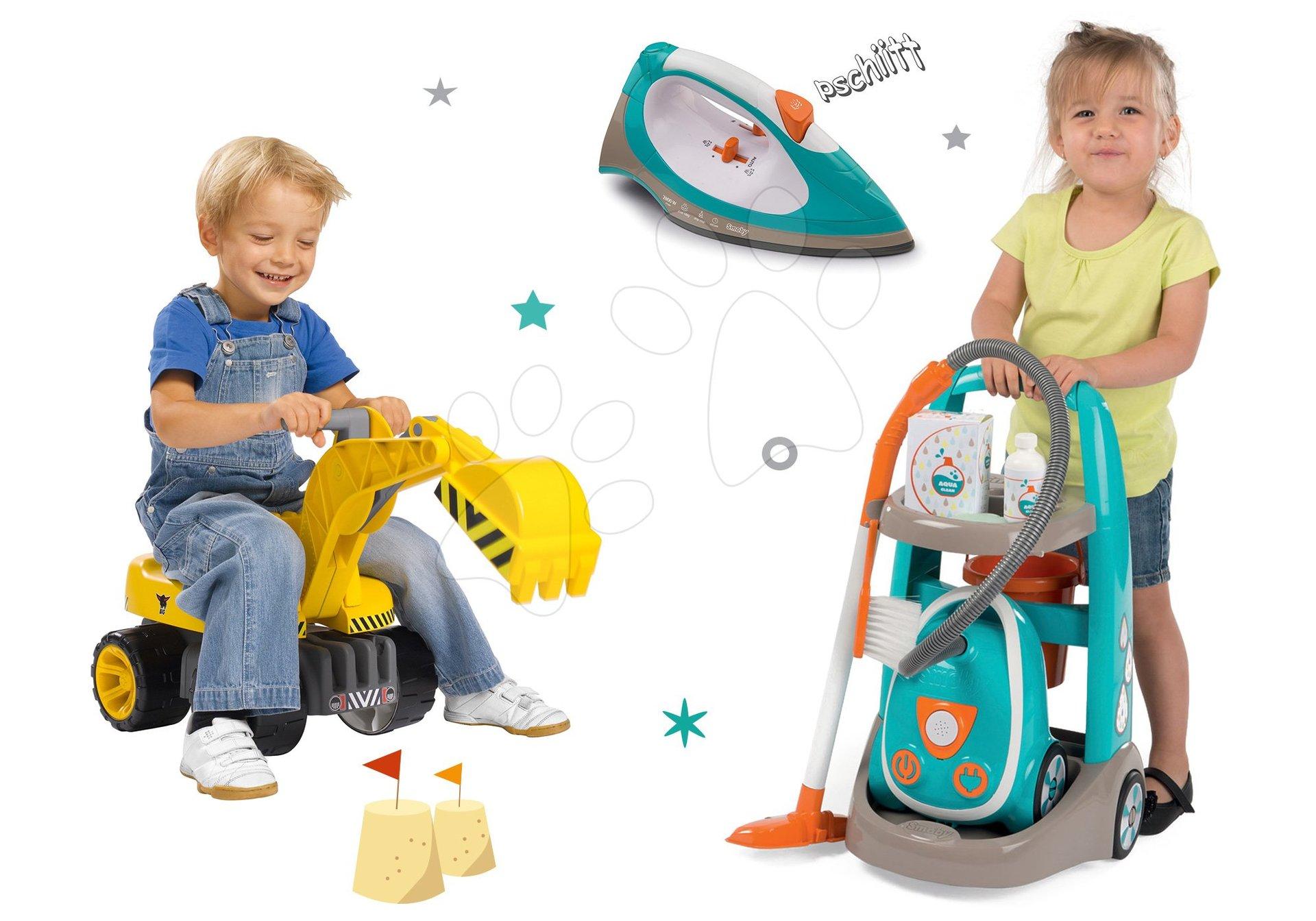 Hry na domácnosť - Set upratovací vozík s elektronickým vysávačom Vacuum Cleaner Smoby a elektronická žehlička a odrážadlo s bagrom