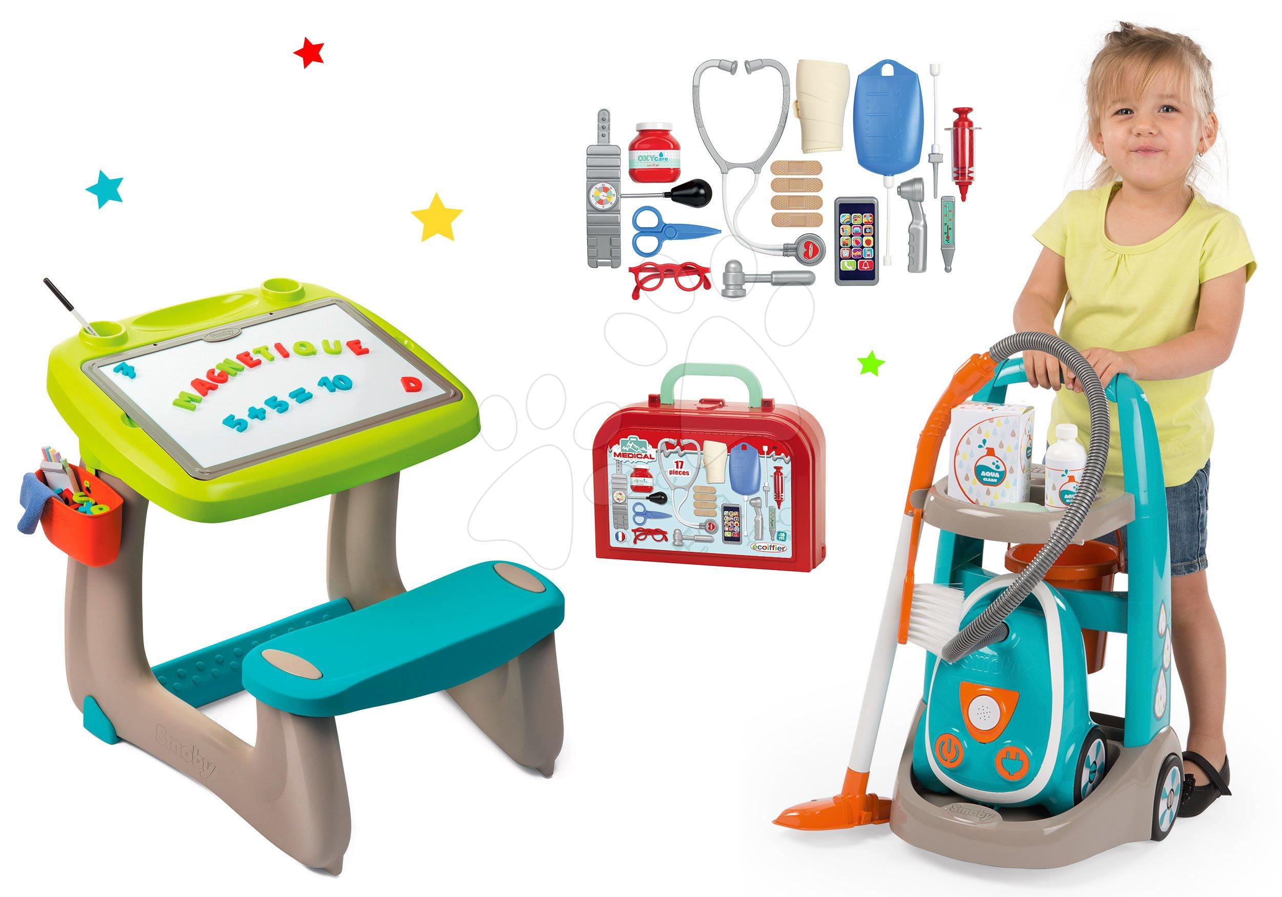 Hry na domácnosť - Set upratovací vozík s elektronickým vysávačom Vacuum Cleaner Smoby a lavica s obojstrannou tabuľou alekárskym kufríkom