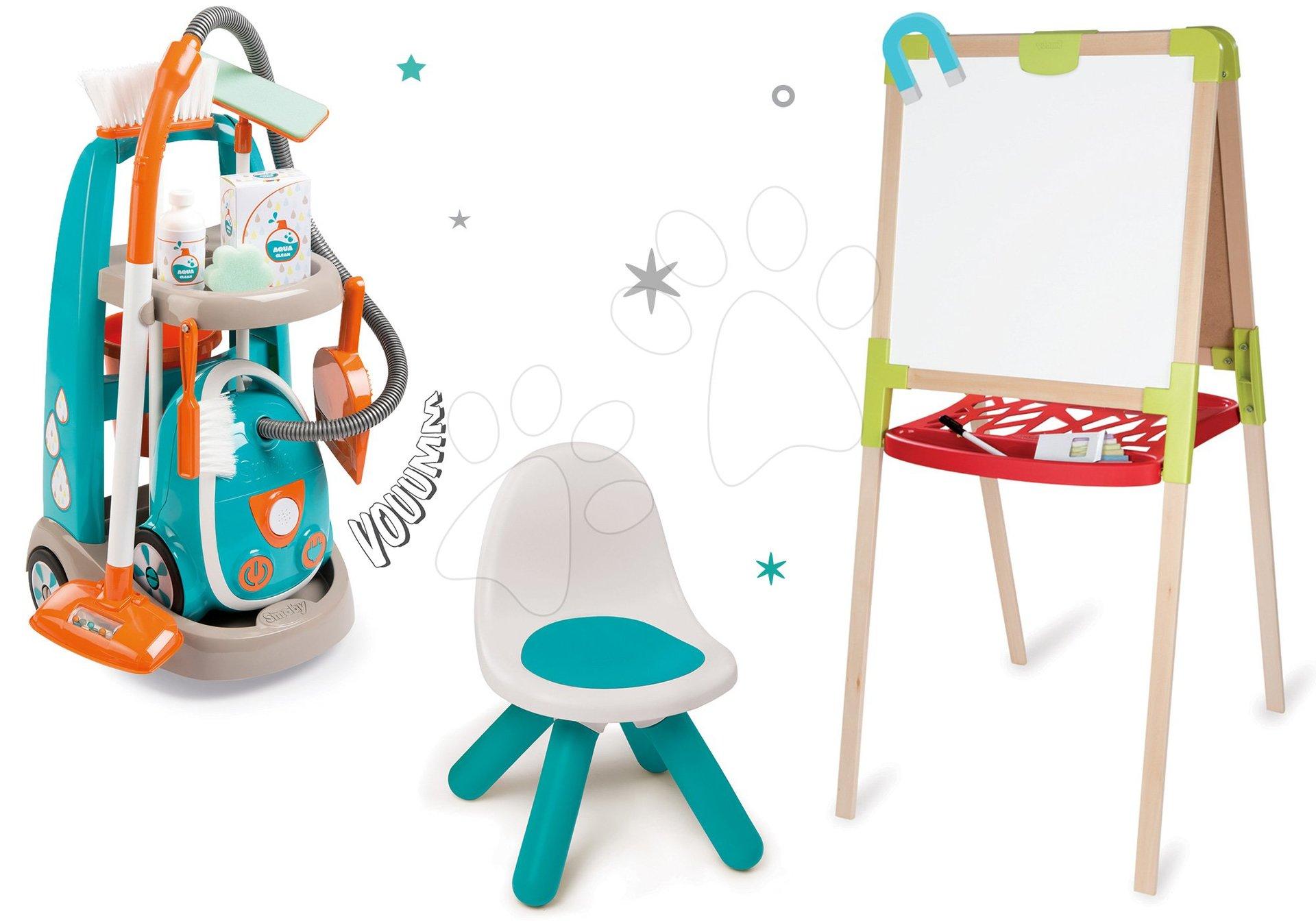 Hry na domácnosť - Set upratovací vozík s elektronickým vysávačom Vacuum Cleaner Smoby a školská tabuľa obojstranná magnetická so stoličkou