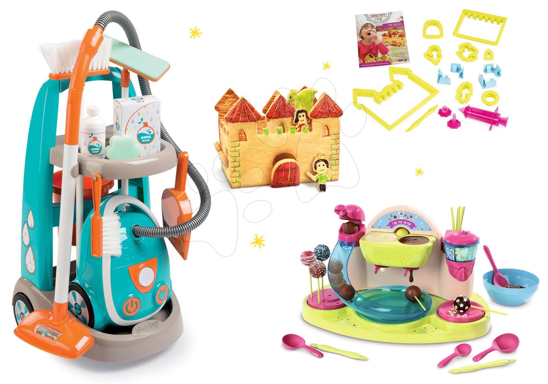 Hry na domácnost - Set úklidový vozík s elektronickým vysavačem Clean Smoby a čokoládovna
