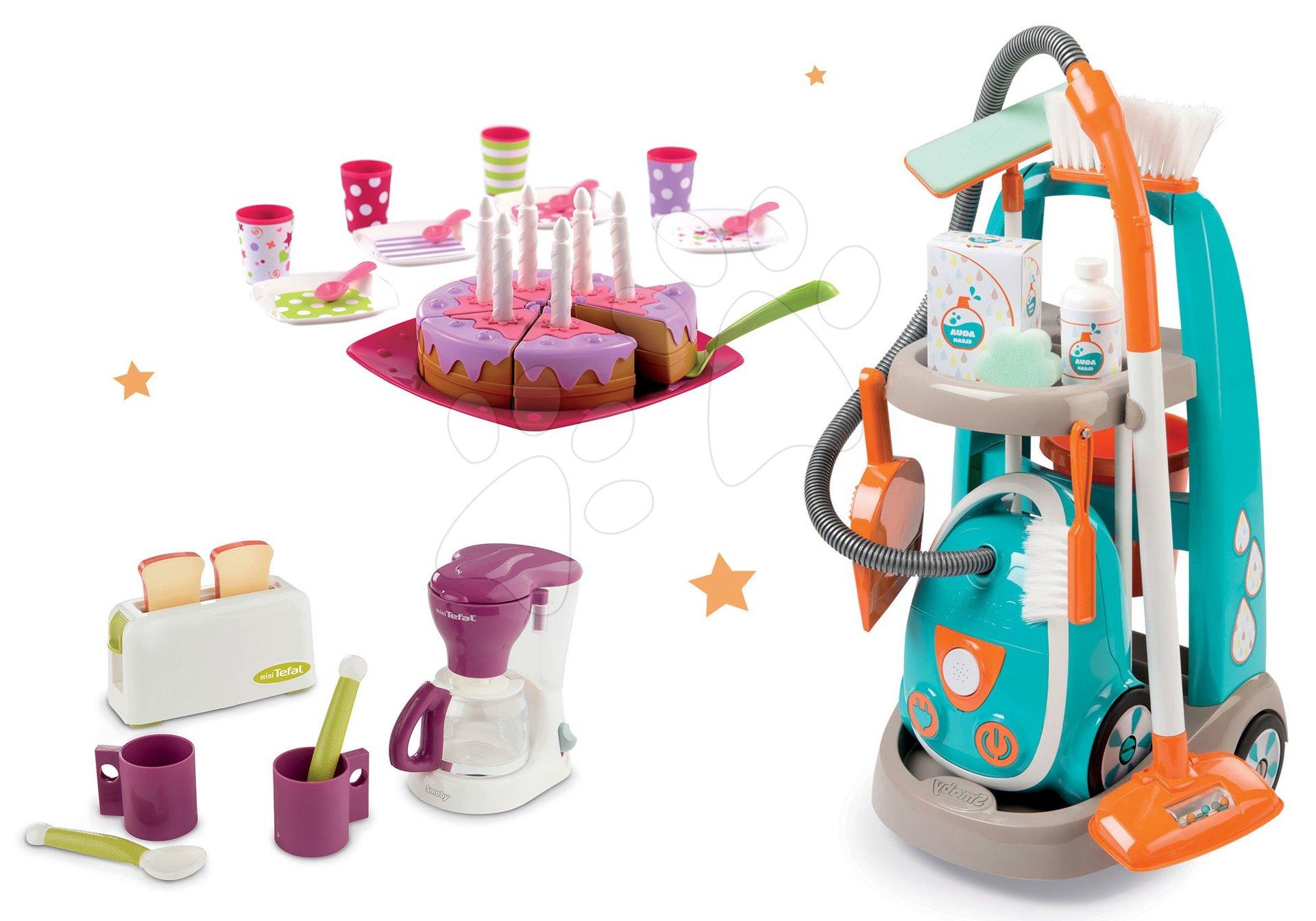 Hry na domácnosť - Set upratovací vozík s elektronickým vysávačom Vacuum Cleaner Smoby a čajová súprava s toasterom kávovarom a narodeninovou tortou
