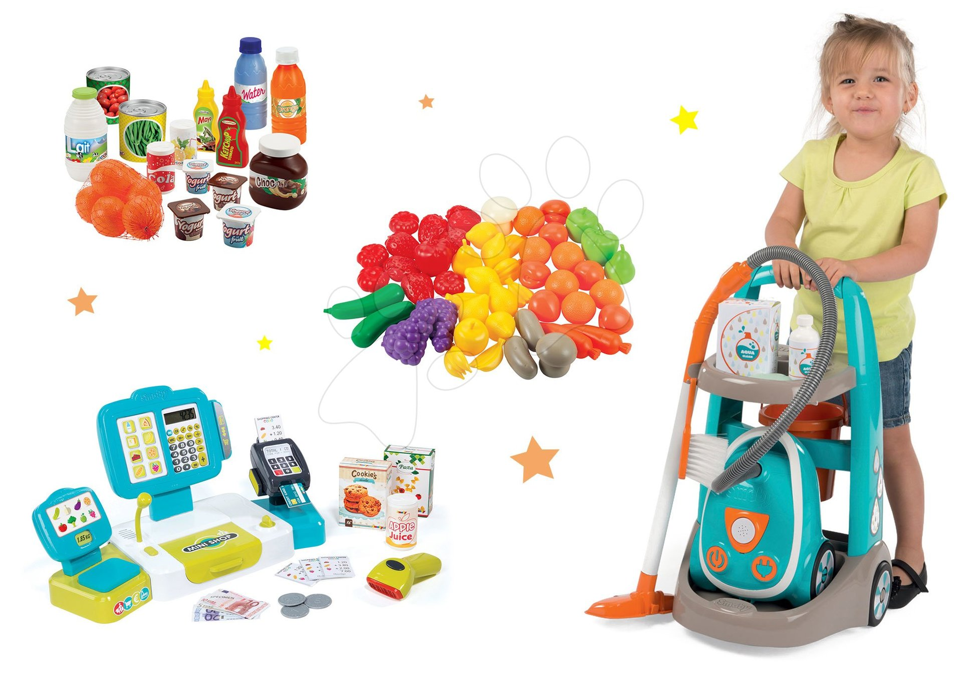Smoby set upratovací vozík s vysávačom Vacuum Cleaner a elektronická pokladňa s ovocím a zeleninou 330309-22