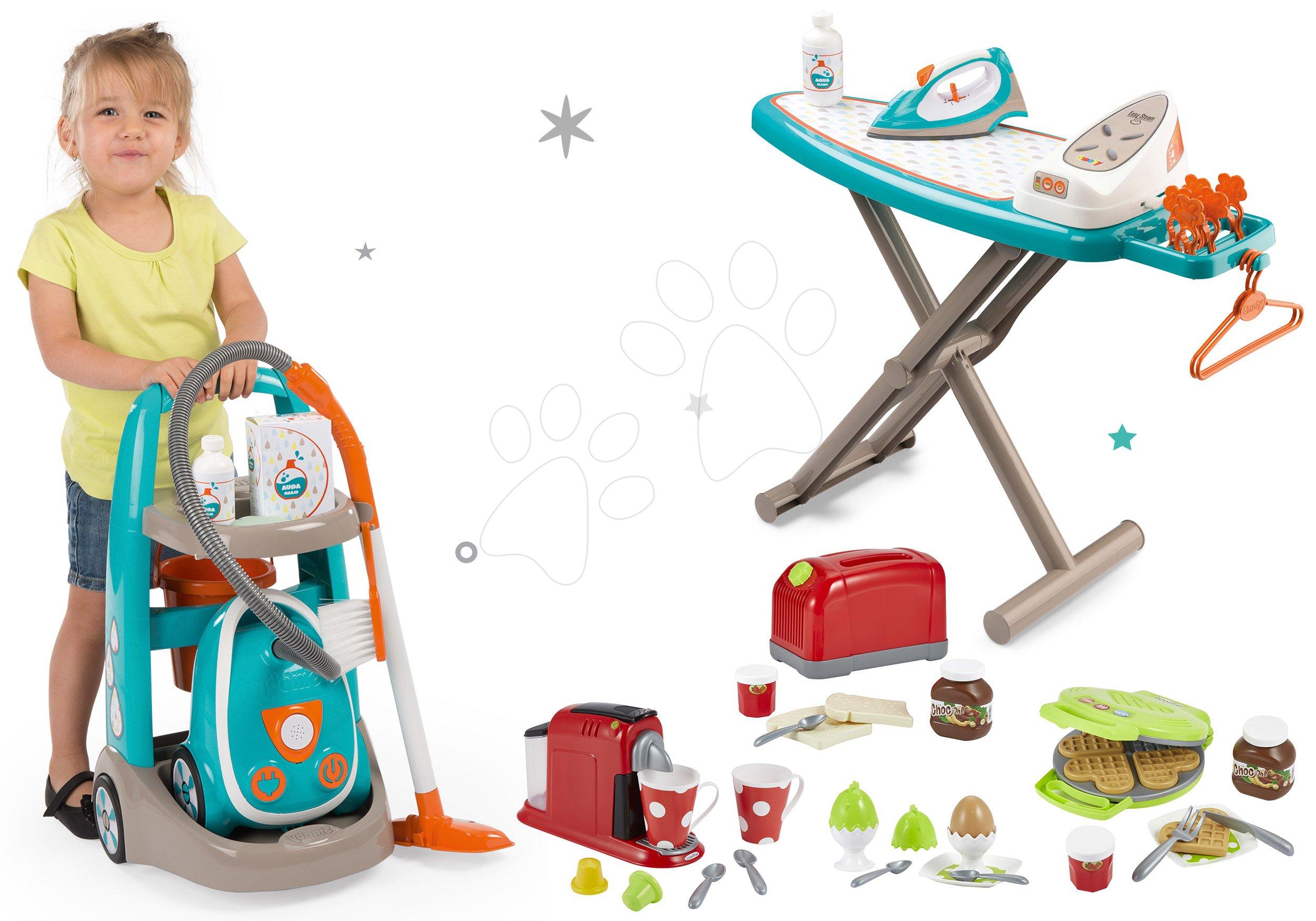 Hry na domácnosť - Set upratovací vozík s elektronickým vysávačom Vacuum Cleaner Smoby so žehliacou doskou a hriankovač s vaflovačom a kávovarom