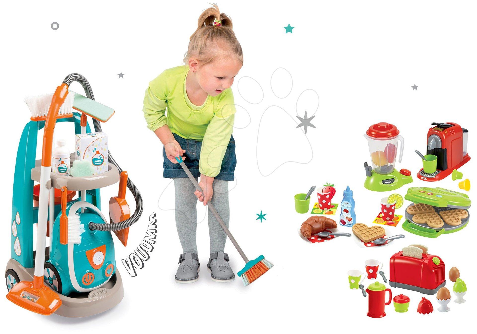 Hry na domácnosť - Set upratovací vozík s elektronickým vysávačom Vacuum Cleaner Smoby a vaflovač s mixérom kávovarom a hriankovač s vajíčkami
