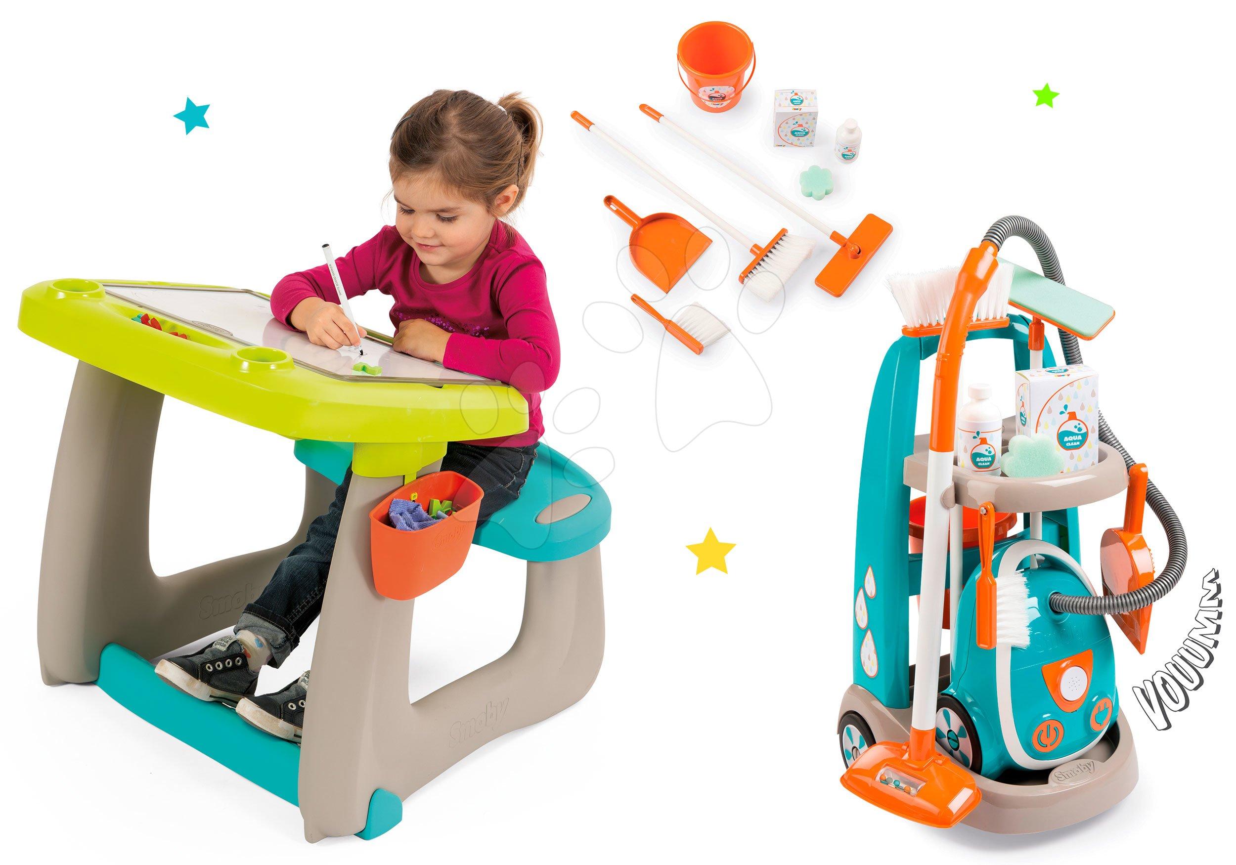 Hry na domácnosť - Set upratovací vozík s elektronickým vysávačom Clean Smoby a lavica s tabuľou Little Pupils