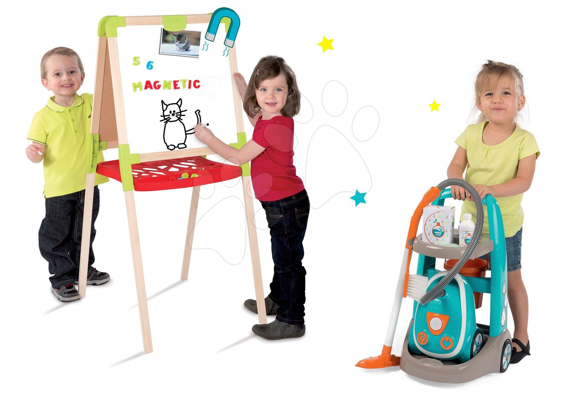 Hry na domácnosť - Set upratovací vozík s elektronickým vysávačom Clean Smoby a školská tabuľa obojstranná magnetická