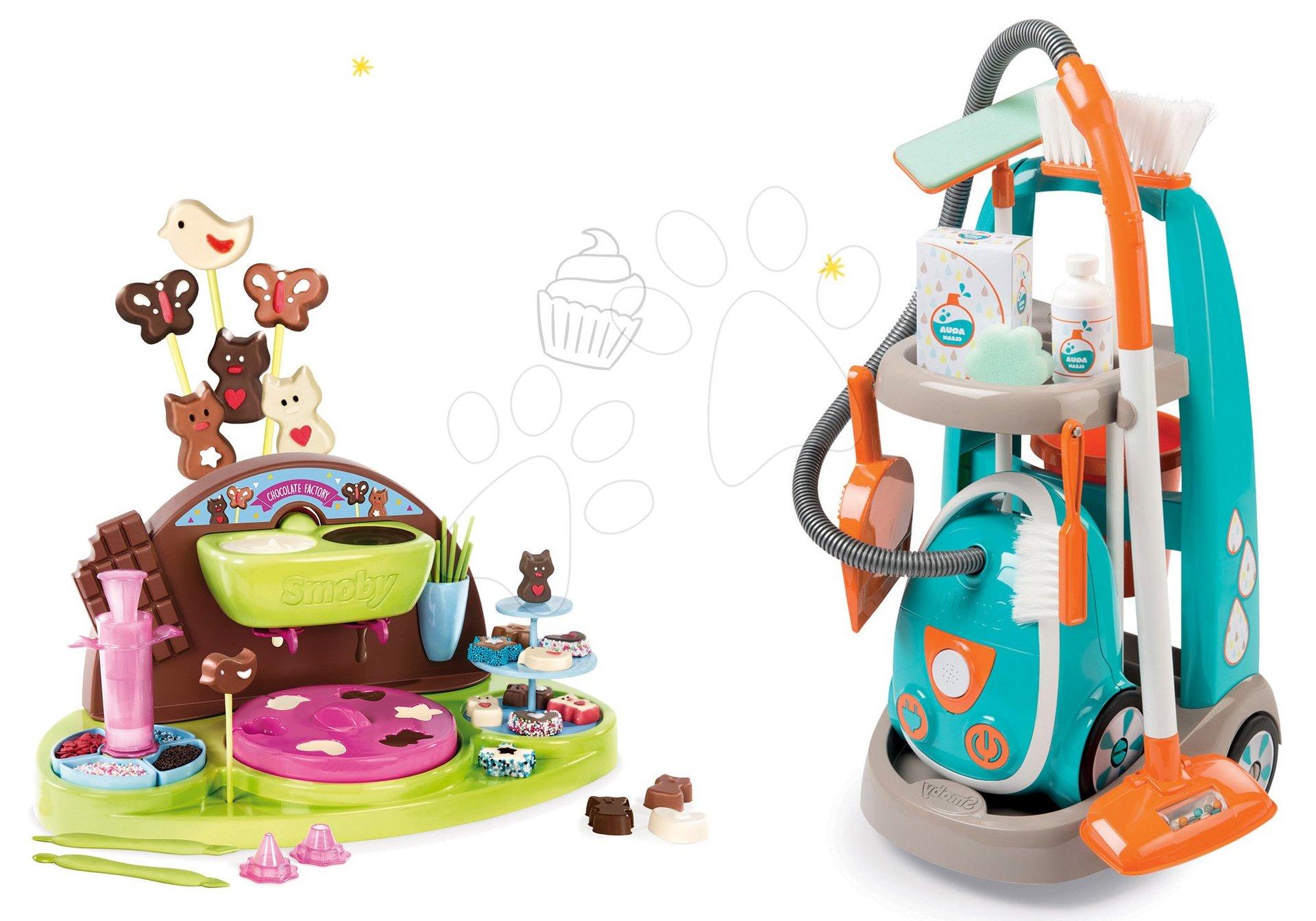 Hry na domácnosť - Set upratovací vozík s elektronickým vysávačom Clean Smoby a kuchárka Čokoládovňa