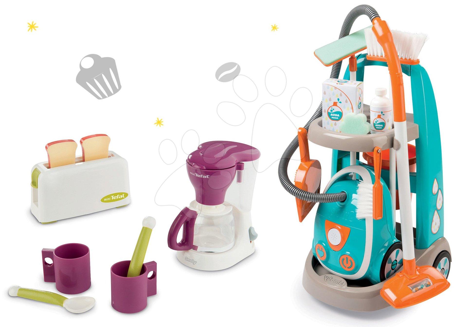Hry na domácnosť - Set upratovací vozík s elektronickým vysávačom Clean Smoby a čajová súprava s toasterom a kávovarom