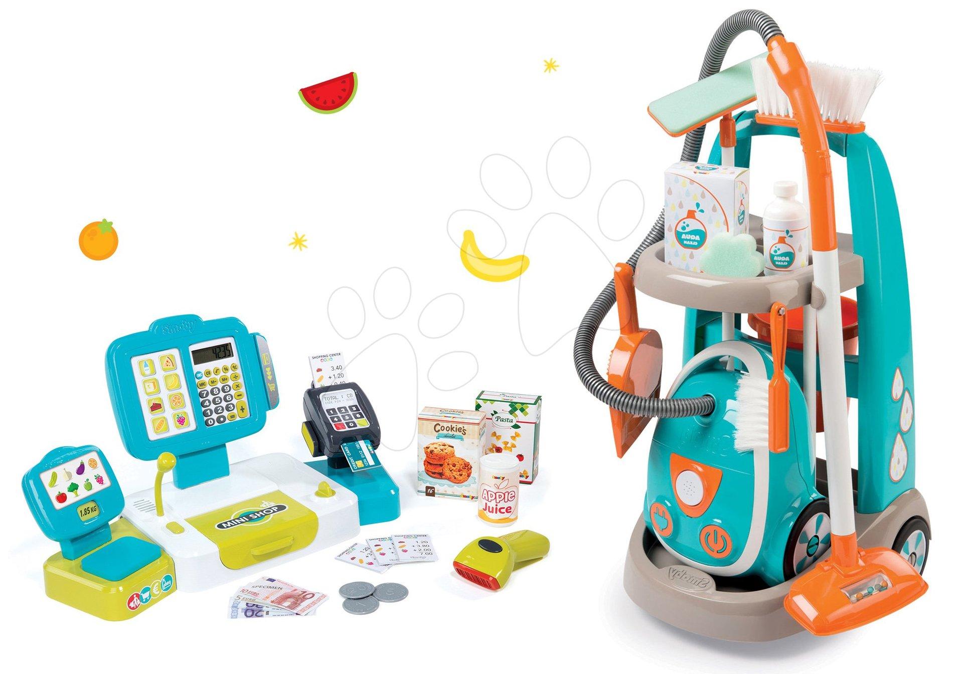 Hry na domácnost - Set úklidový vozík s elektronickým vysavačem Clean Smoby a elektronická pokladna s doplňky