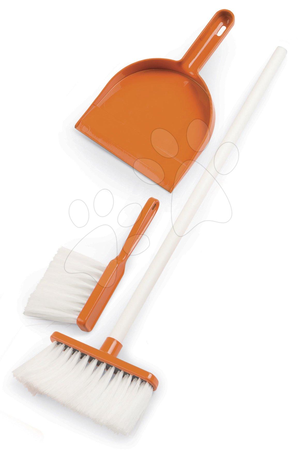 Smeták s lopatkou na úklid Aqua Clean Smoby oranžový 3dílný