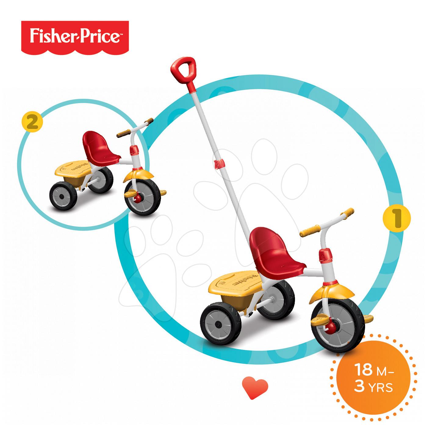 Trojkolky od 15 mesiacov - Trojkolka Fisher-Price Glee smarTrike červeno-žltá od 18 mes