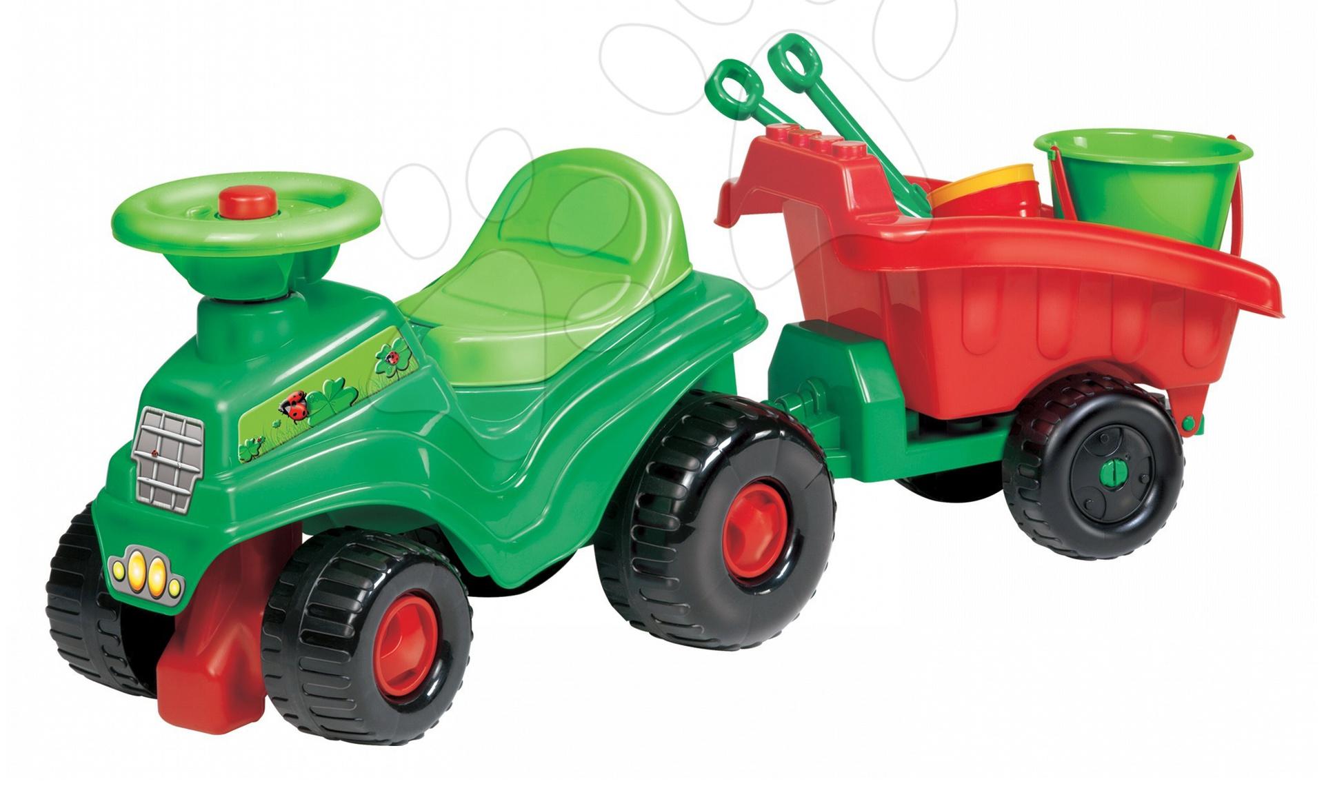 Odrážadlo traktor Écoiffier s prívesom a setom do piesku zelené od 18 mes