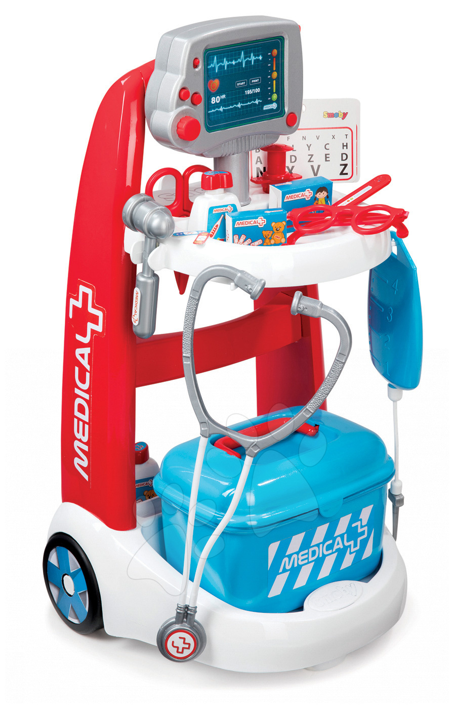 Lekársky vozík Medical Smoby elektronický s modrým kufríkom a 16 doplnkami