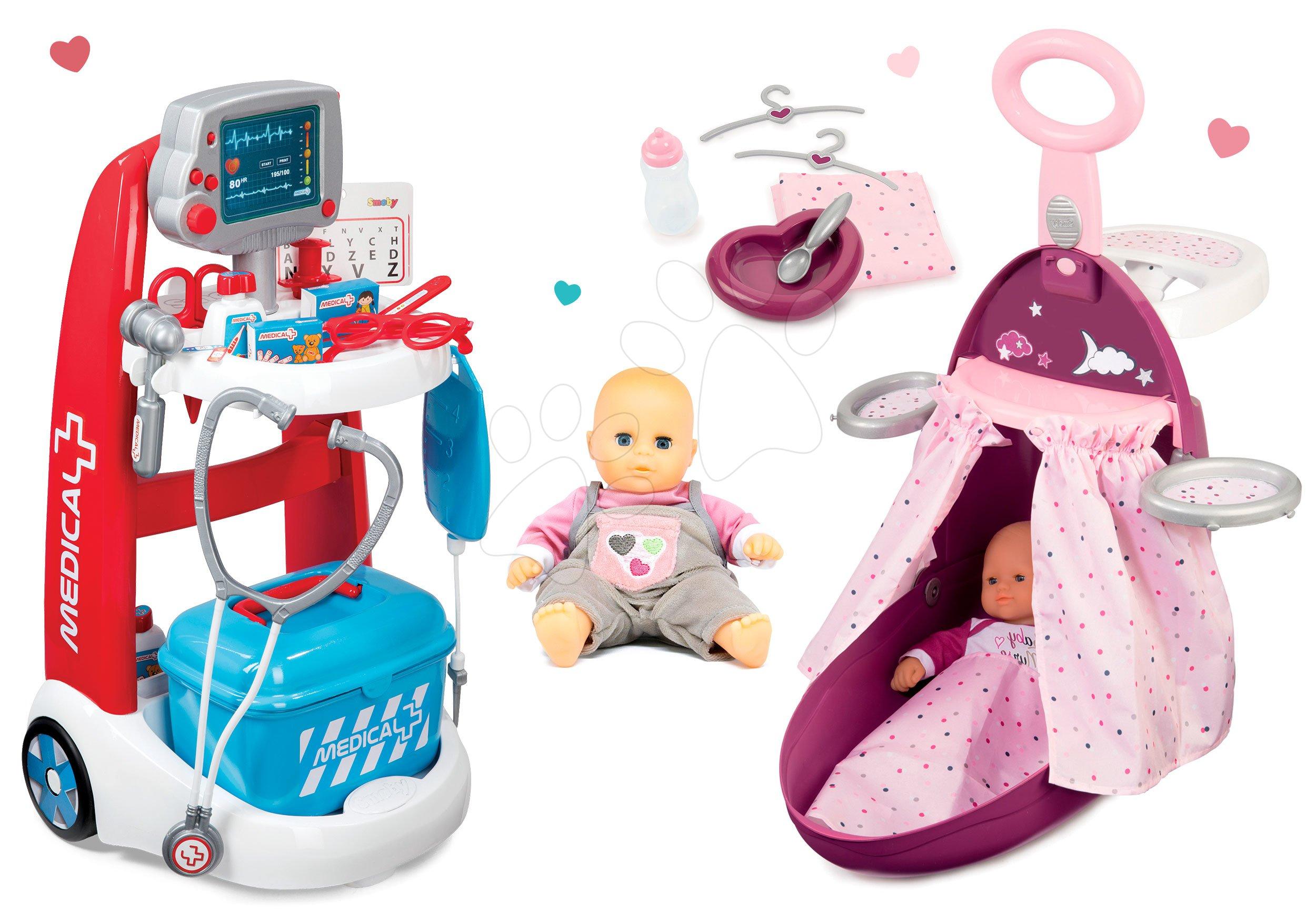 Smoby set lekársky vozík a prebaľovací vozík s postieľkou a bábikou 340202-2