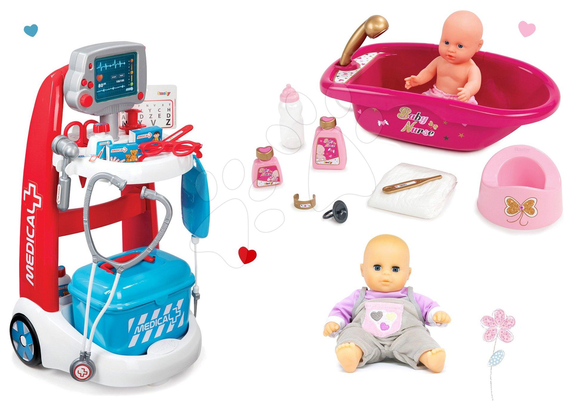 Set lekársky vozík elektronický Medical Smoby a vanička s bábikou a doplnkami