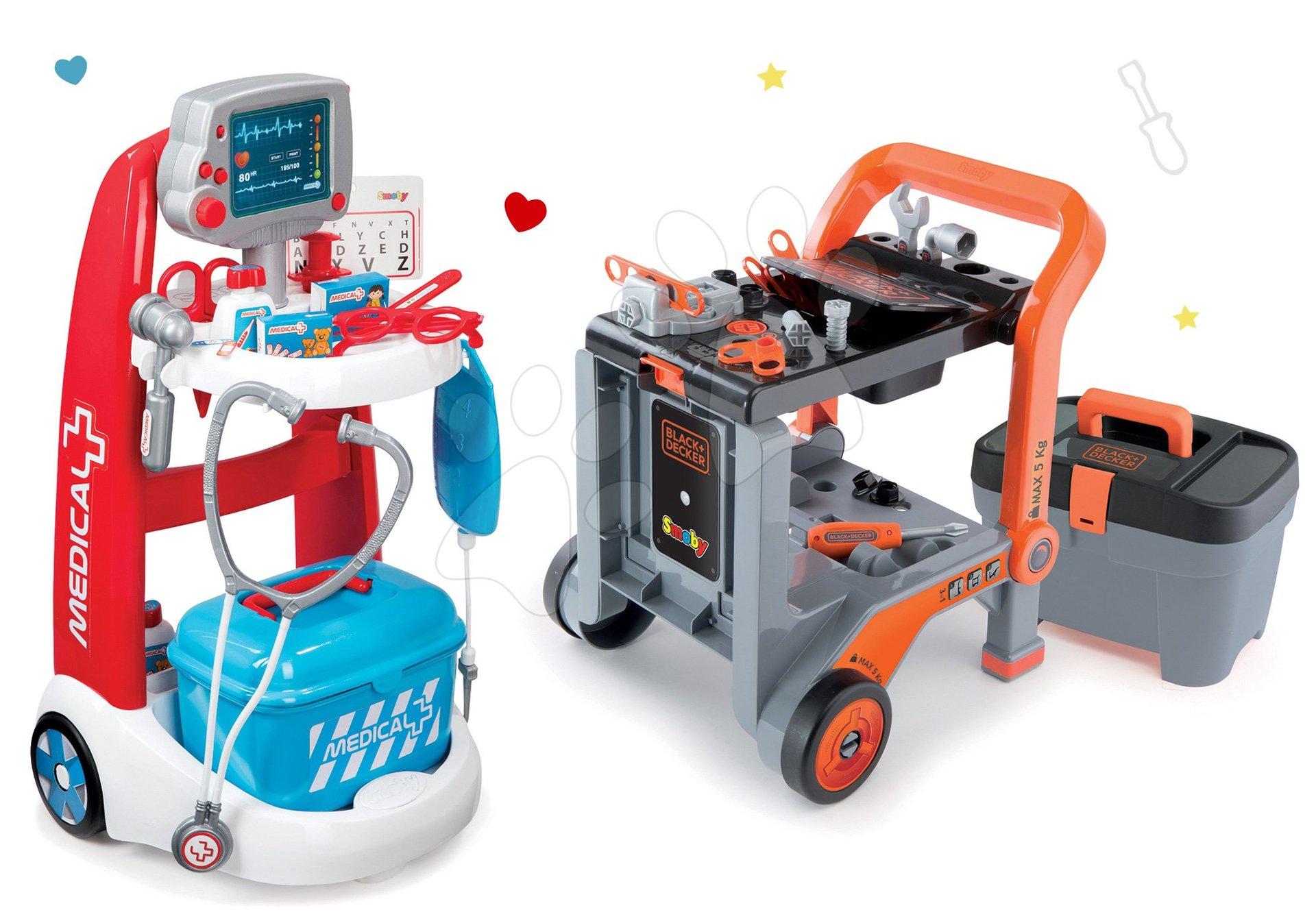 Smoby set lekársky vozík elektronický a pracovná dielňa Black&Decker skladacia 340202-6