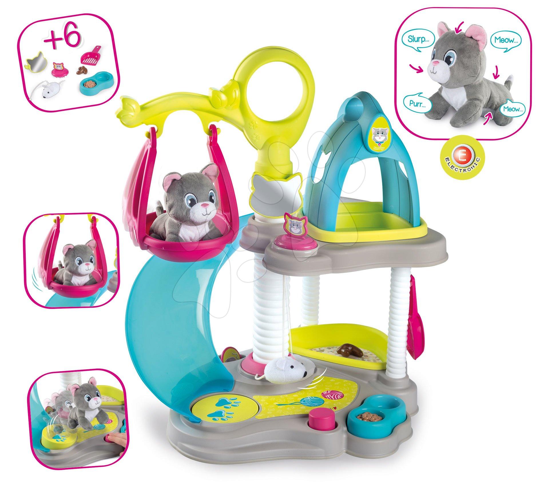Domeček pro kočičku Cat's House Veterinary Smoby elektronický se zvuky a skluzavka s houpačkou a 6 doplňků