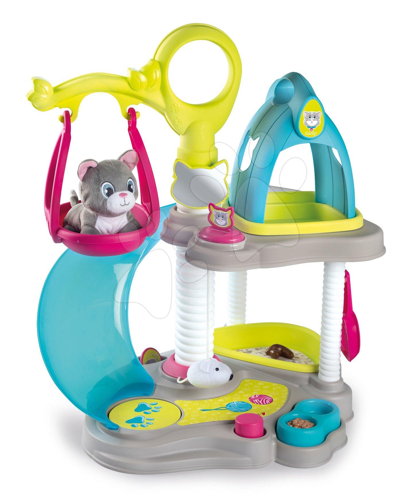 Domčeky pre bábiky - Domček pre mačičku Cat's House Veterinary Smoby elektronický so zvukmi a šmykľavka s hojdačkou a 6 doplnkov