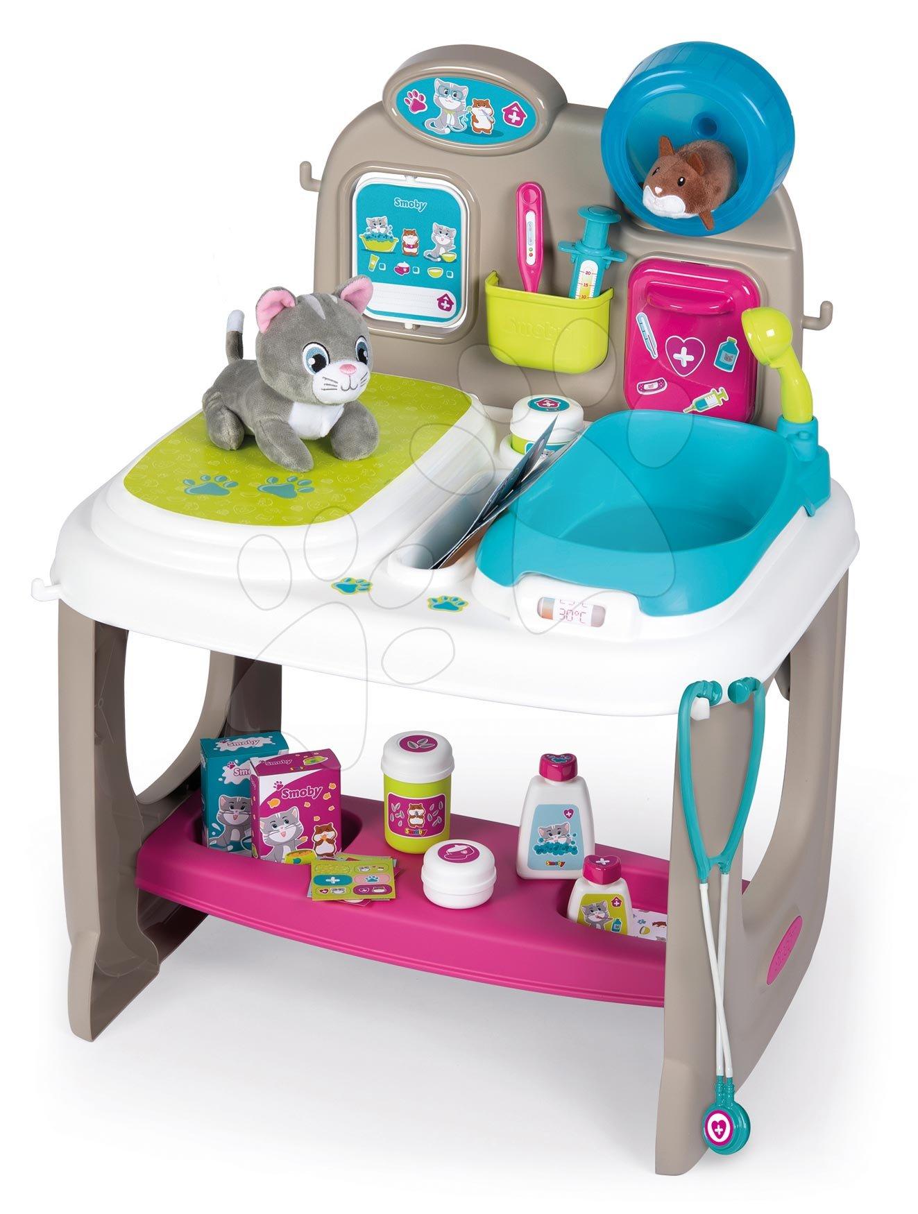 Zdravniški vozički za otroke - Veterinarska ambulanta z živalcami Veterinary Center Smoby s pultom in banjica za kopanje s 18 dodatki