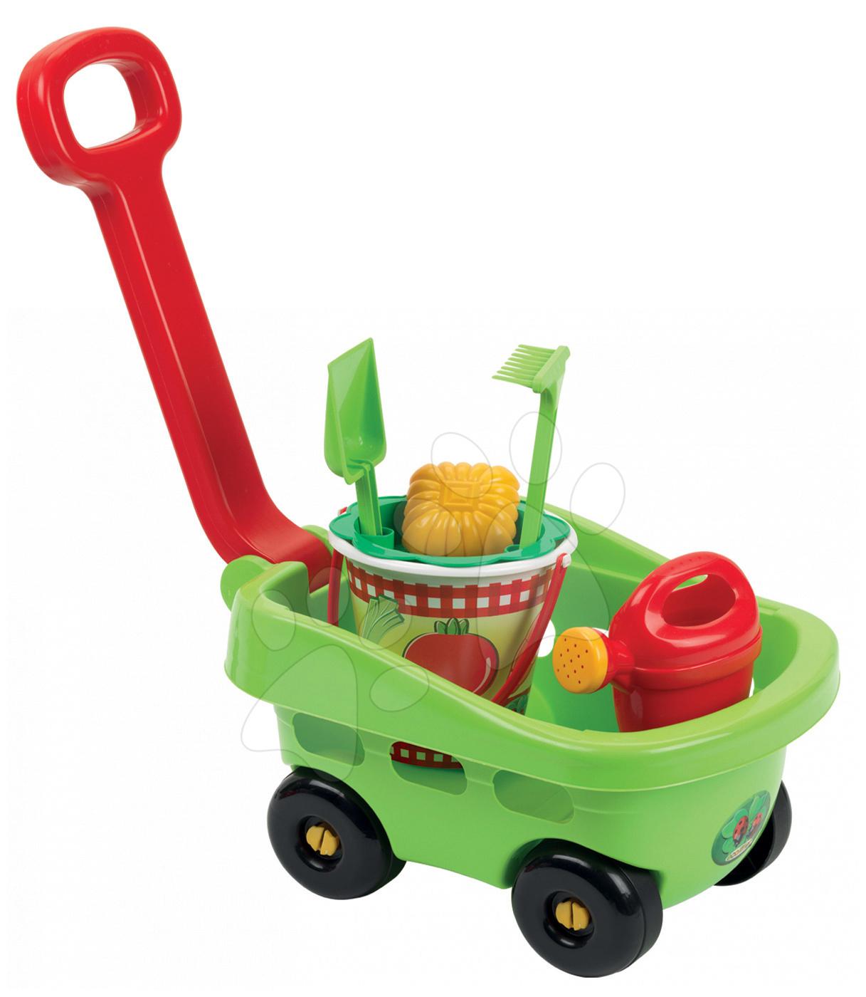 Kolečka do písku - Vozík s kbelík setem Picnic Écoiffier 6 dílů zelený od 18 měsíců