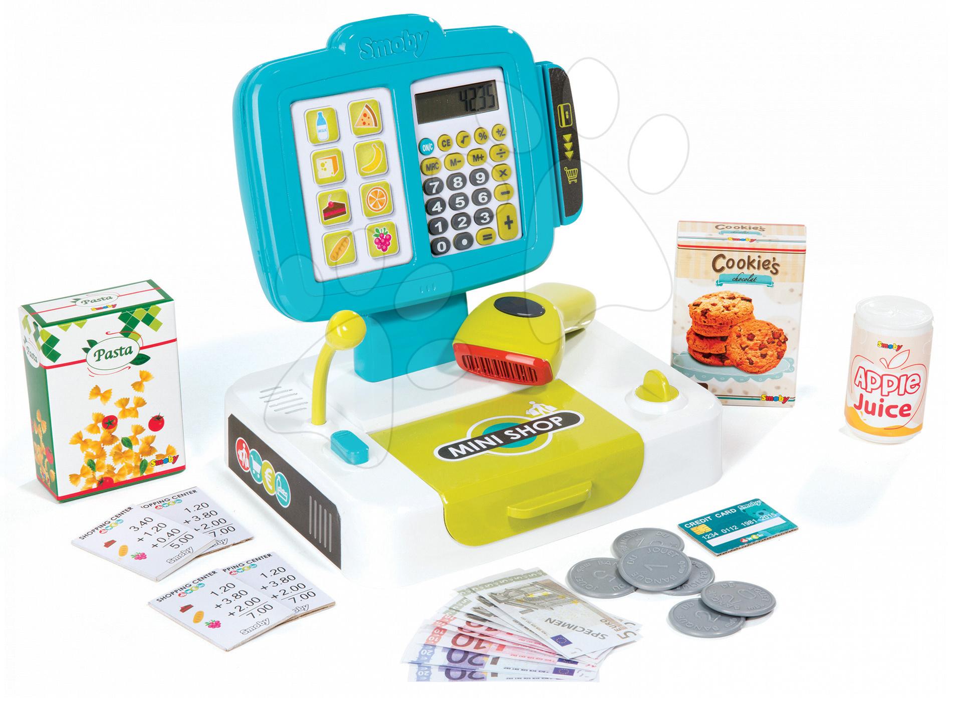 Pokladna Mini Shop Smoby elektronická s čtečkou kódů a 27 doplňky tyrkysová