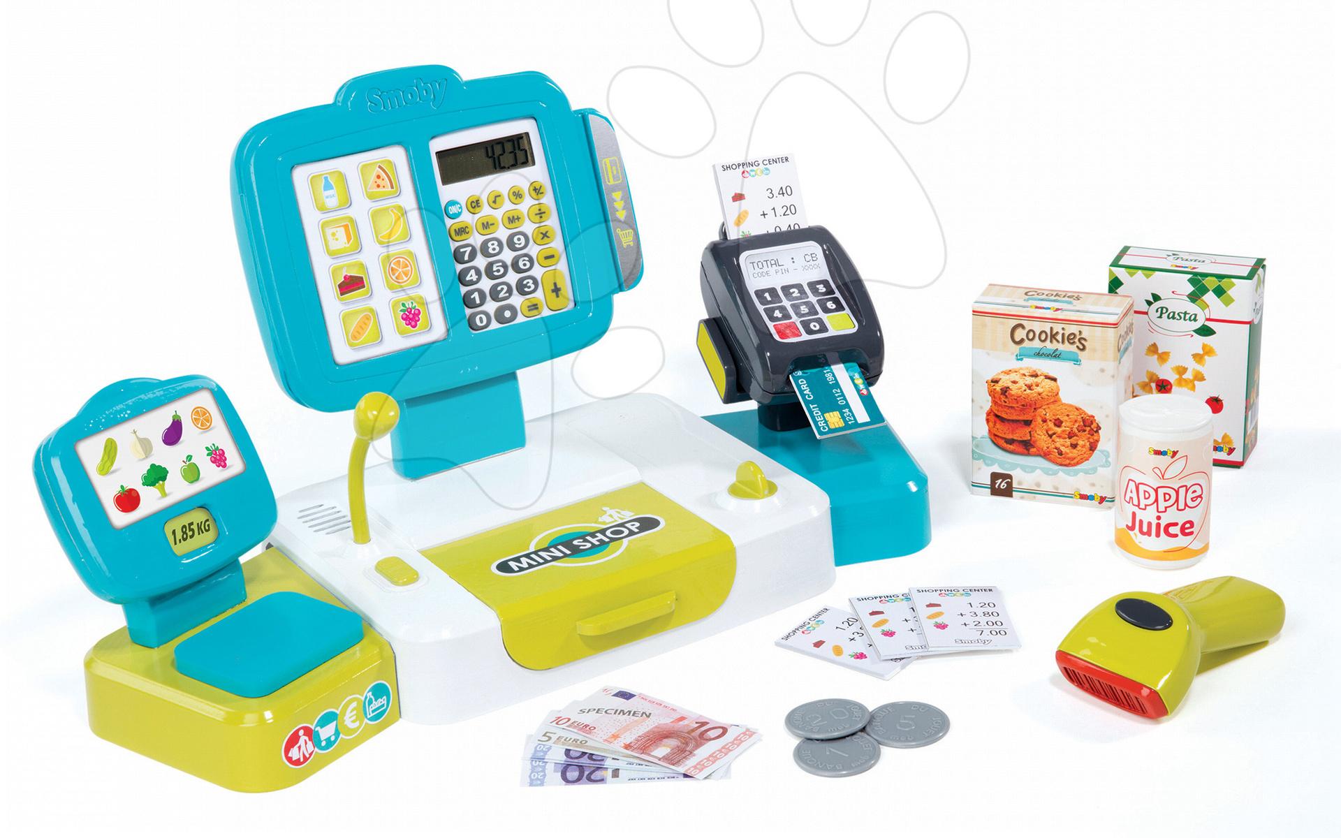 Pokladna Mini Shop elektronická Smoby s váhou, terminálem, čtečkou kódů a 27 doplňky tyrkysová