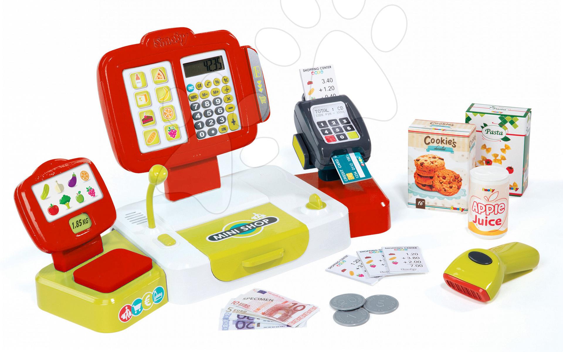 Blagajna Mini Shop Smoby elektronska s tehtnico, terminalom, čitalcem črtnih kod in 27 dodatki rdeča