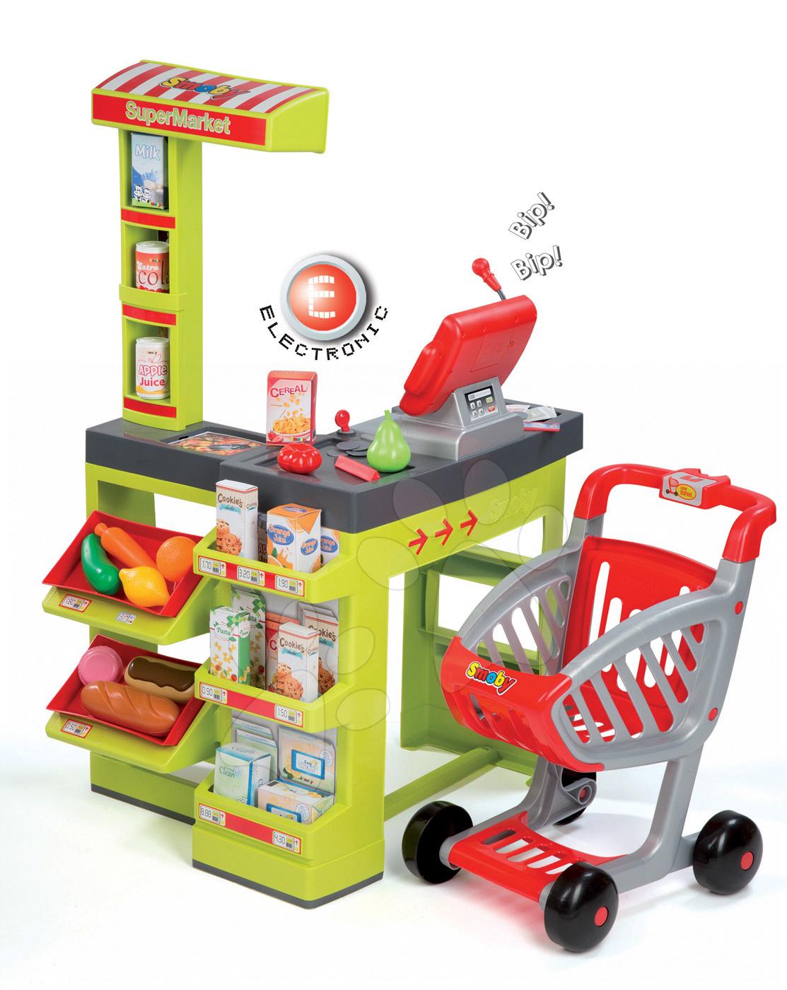 Obchody pro děti - Obchod Supermarket Smoby s elektronickou pokladnou, vozíkem, potravinami a 44 doplňky zelený