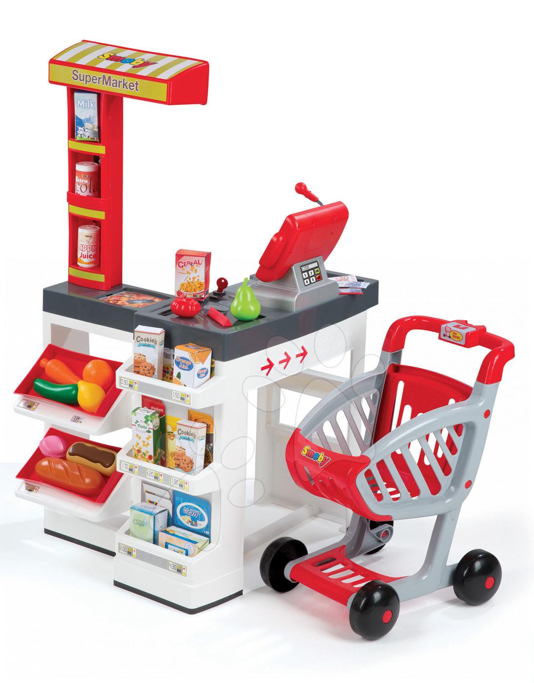 Obchody pre deti - Obchod Supermarket Smoby s elektronickou pokladňou, vozíkom, potravinami a 44 doplnkami biely