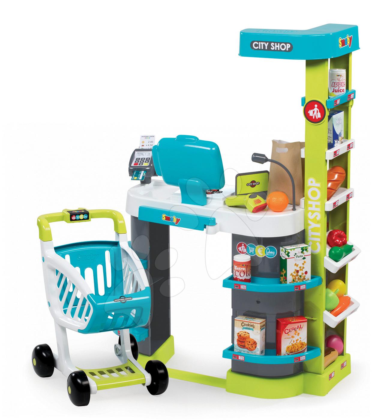 Obchod City Shop Smoby elektronický s pokladňou, potravinami a 41 doplnkami tyrkysový