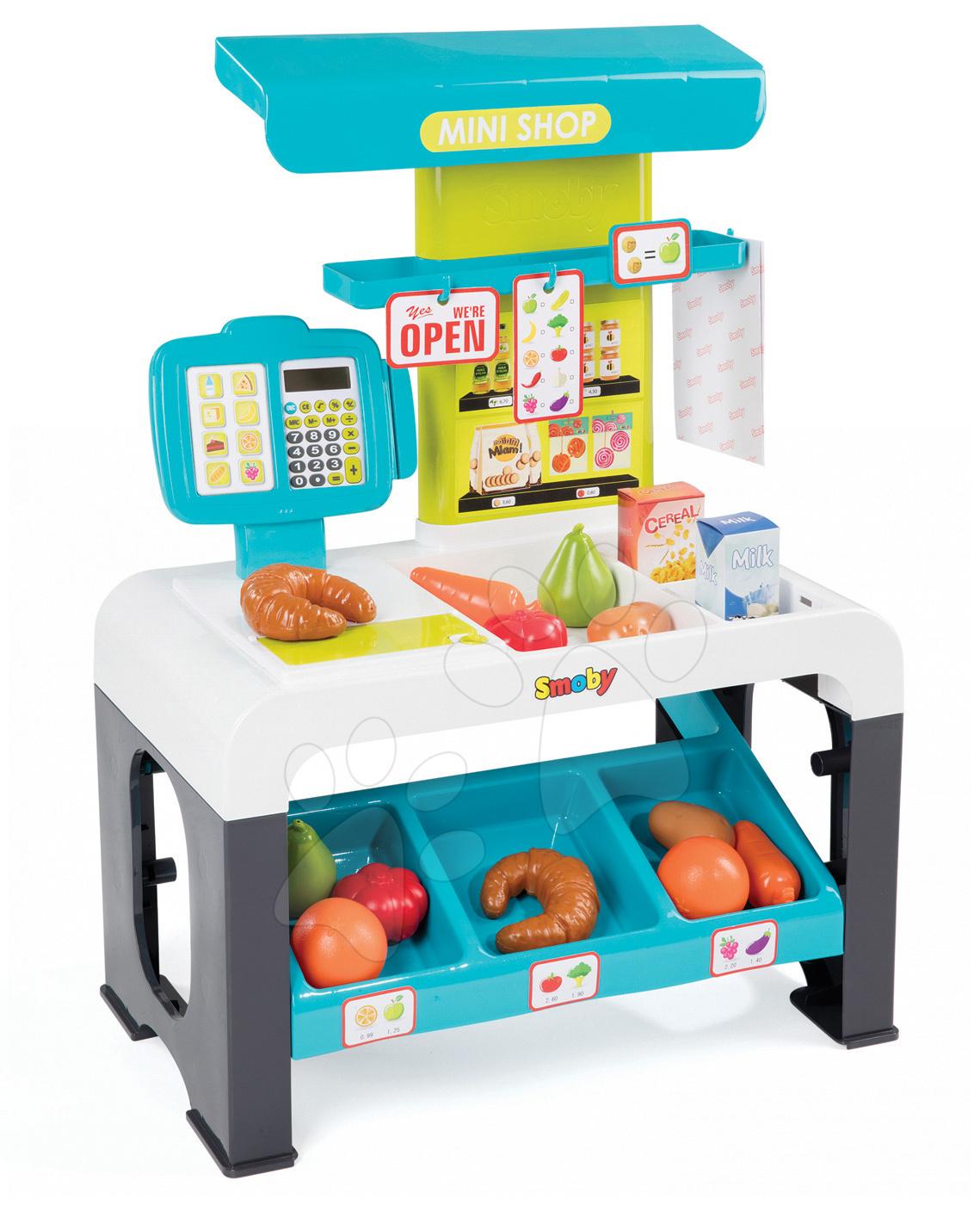 Obchod s potravinami Mini Shop Smoby elektronický s 42 doplňky tyrkysový 350208