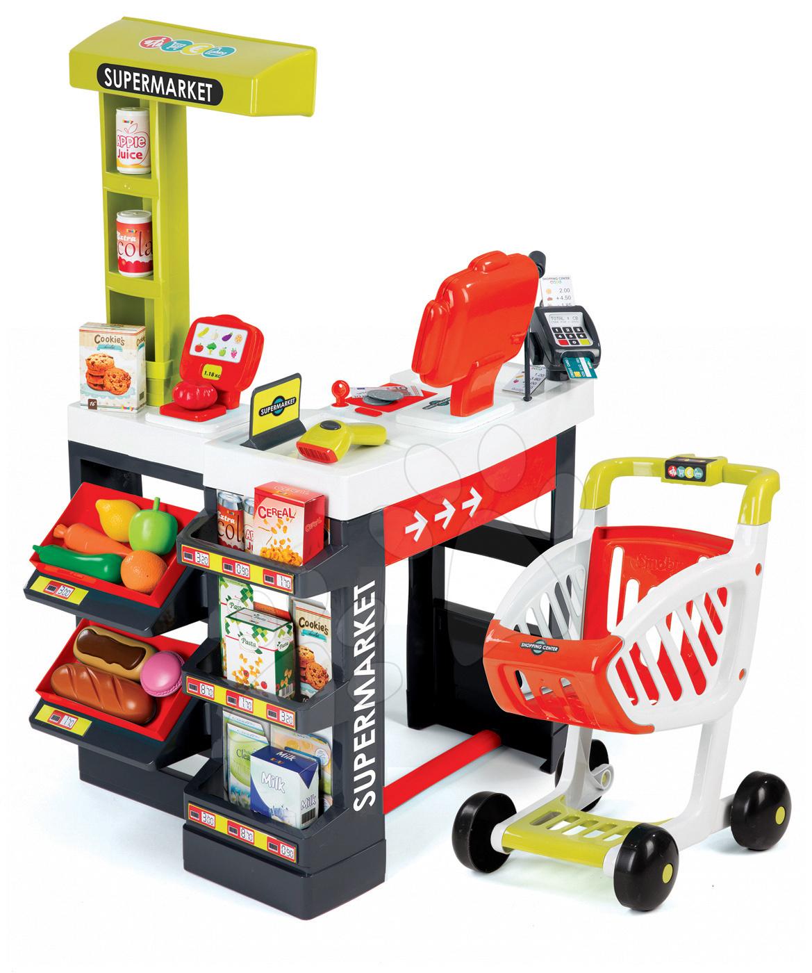 Obchod s potravinami elektronický Supermarket Smoby červený s váhou a klávesnicovou pokladňou + 41 doplnkov od 3 rokov 350210
