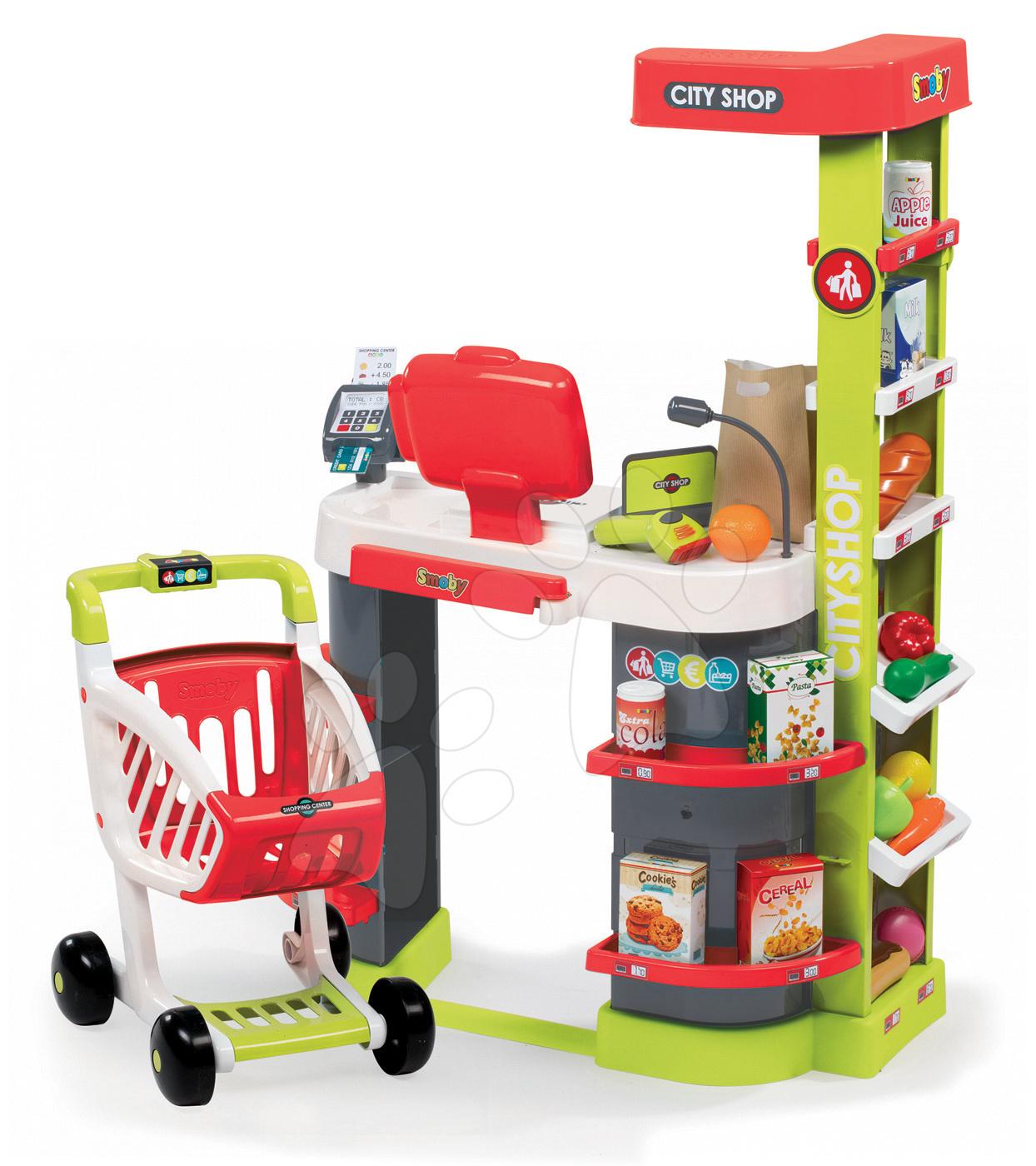 Obchod City Shop Smoby elektronický s pokladňou, potravinami a 41 doplnkami červený