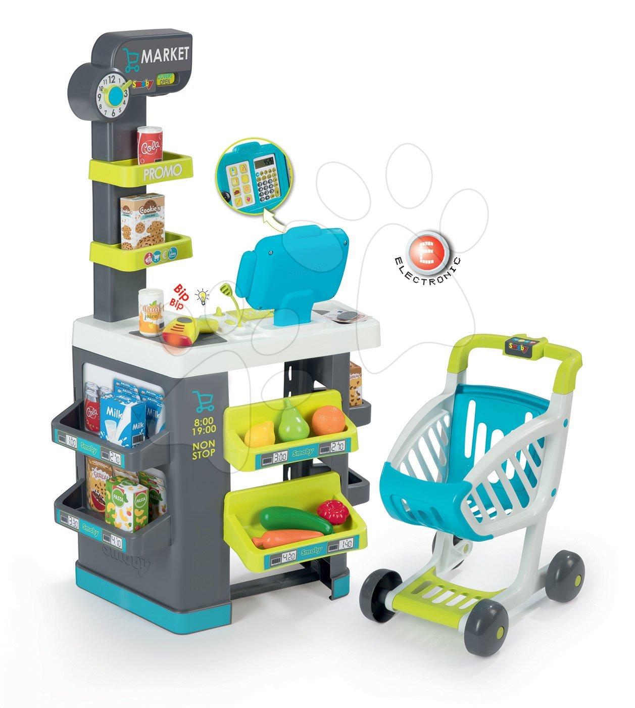 Közért élelmiszerekkel Market Smoby türkíz elektronikus pénztárgéppel és vonalkódolvasóval 34 kiegészítővel