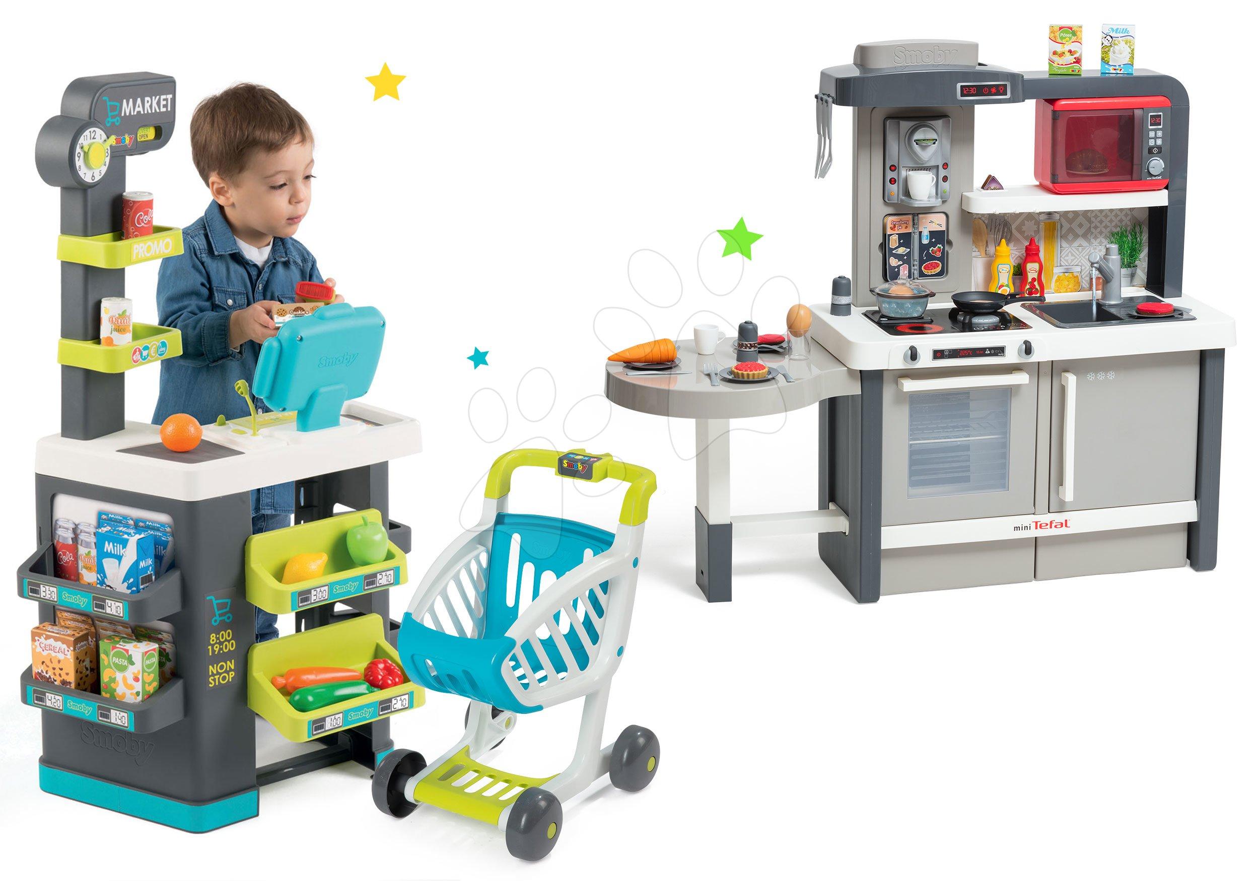 Set obchod Supermarket Smoby s elektronickou pokladnou a kuchyňka rostoucí Tefal Evolutive s ledem a mikrovlnkou