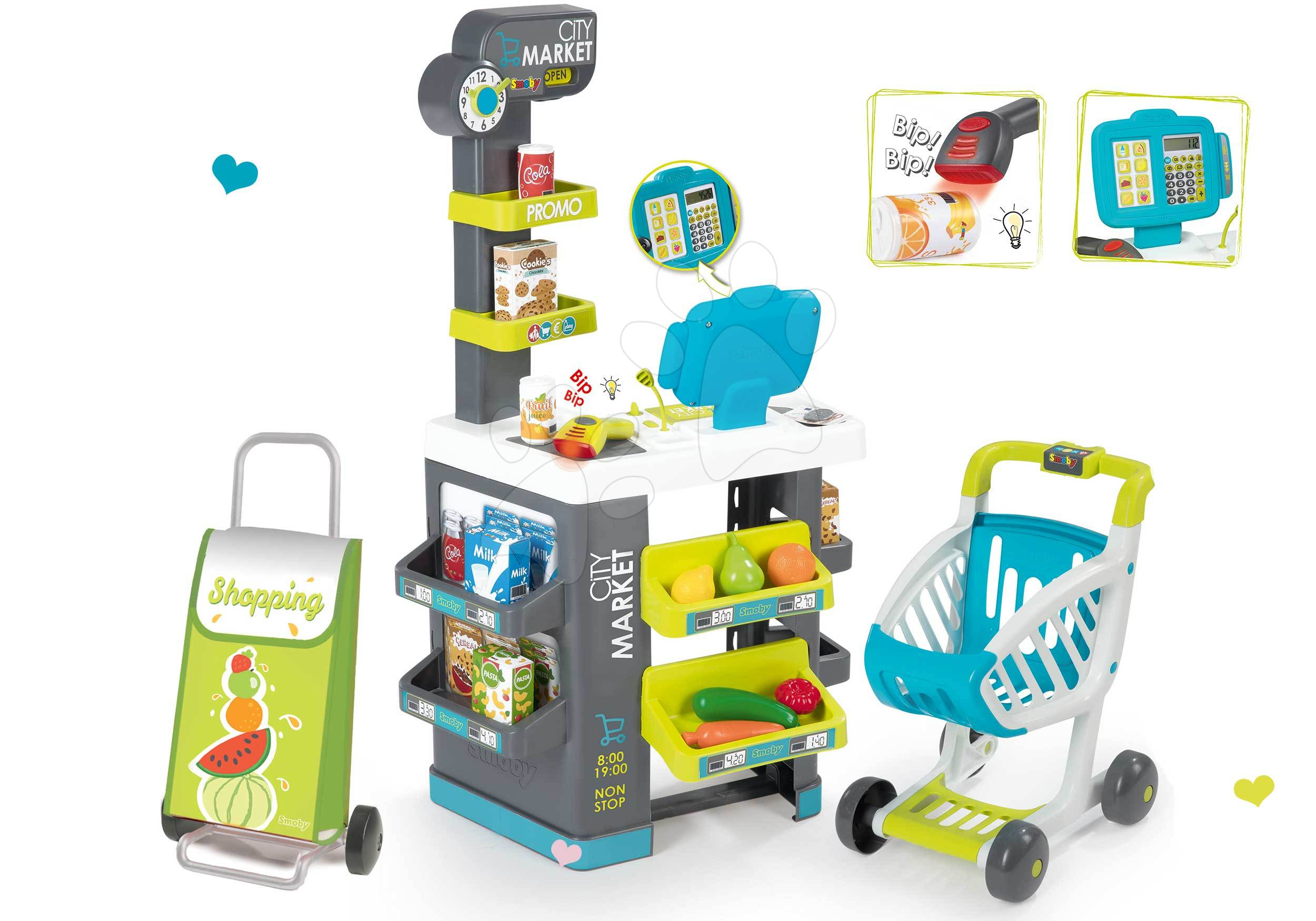 Smoby dětský obchod Market a Écoiffier potraviny Bubble Cook 350212-16