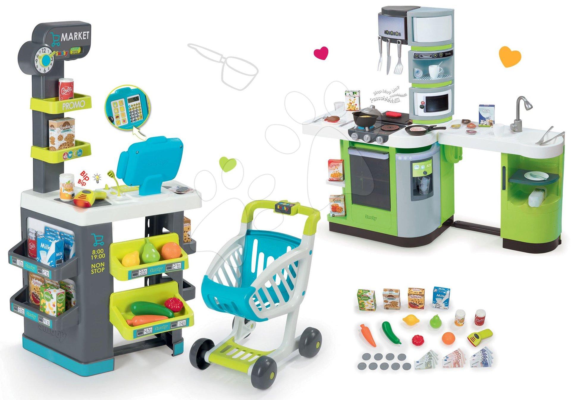 Set obchod Supermarket Smoby s elektronickou pokladnou a kuchyňka Cook Master s ledem
