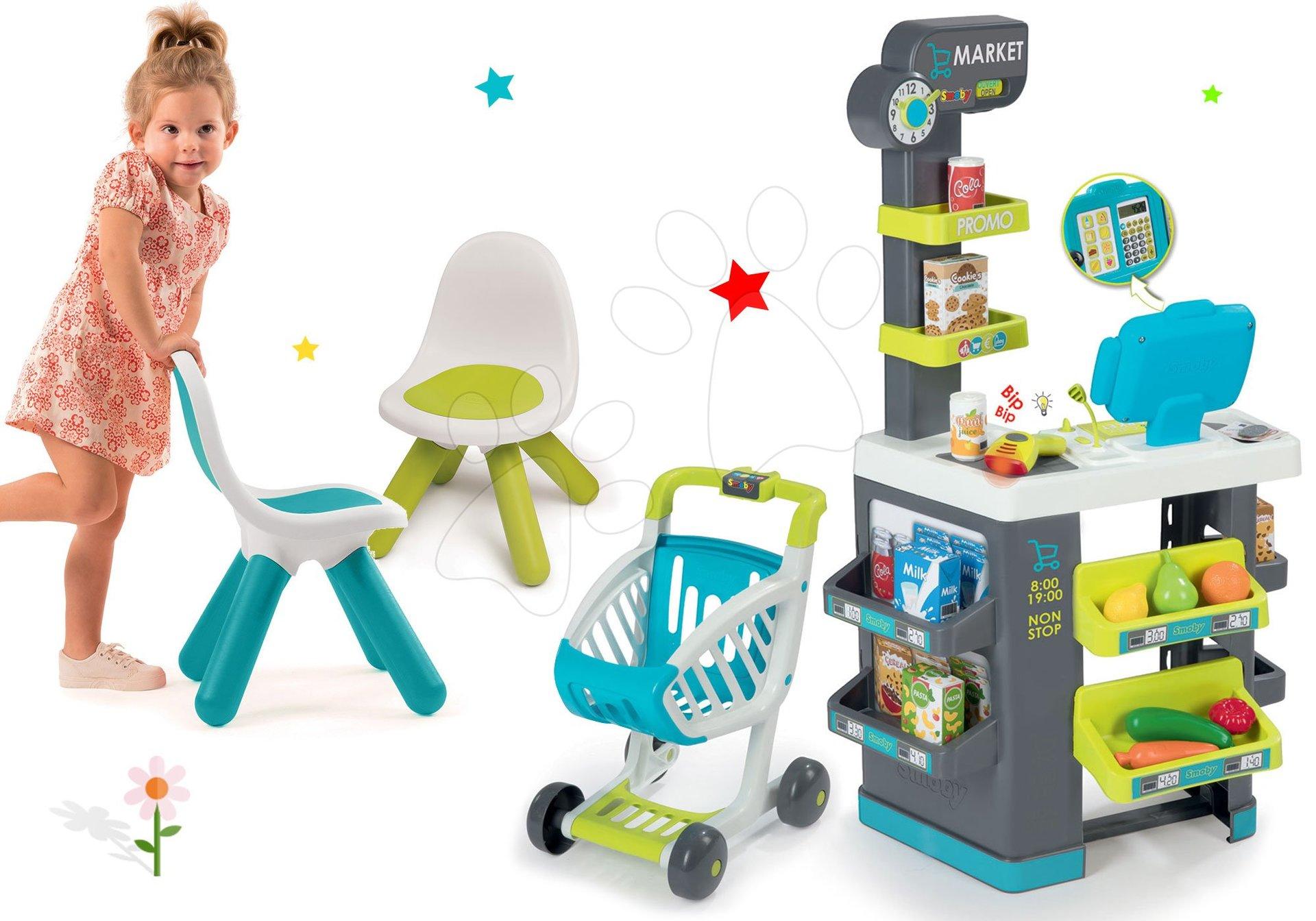 Smoby set obchod Market s elektronickou pokladňou a stoličkami KidChair 350212-20