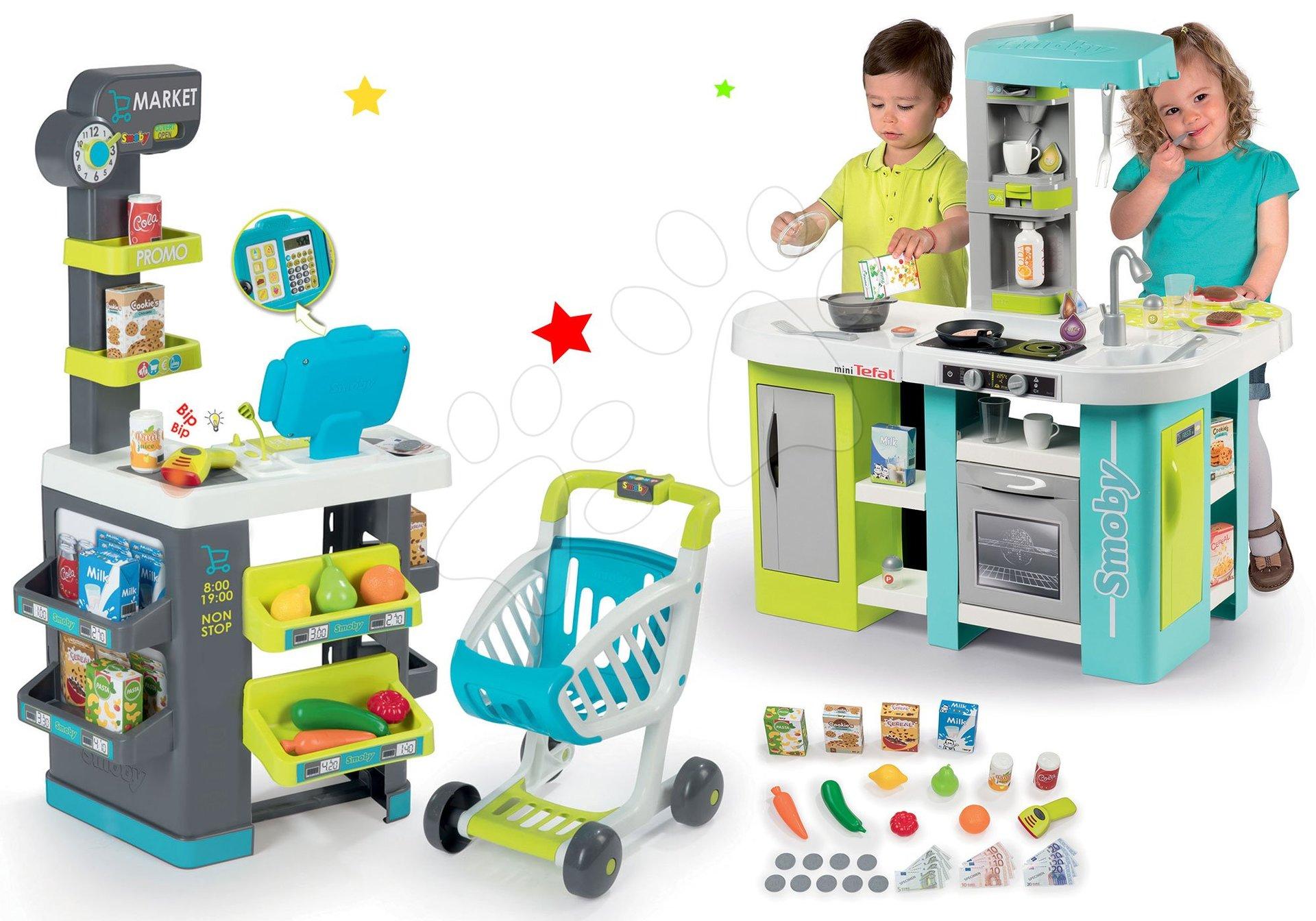 Smoby set obchod s potravinami Market a elektronická kuchynka Tefal Studio XL Bubble 350212-3