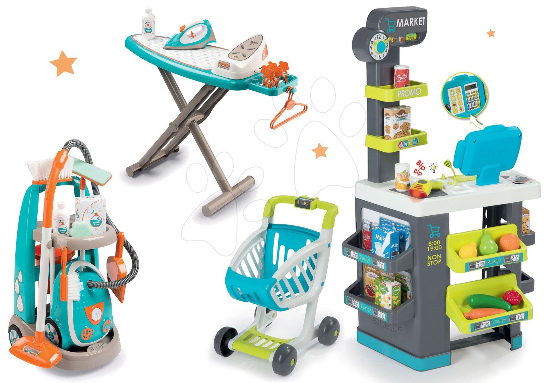 Smoby set obchod s potravinami Market a upratovací vozík s elektronickým vysávačom a žehliacou doskou 350212-5