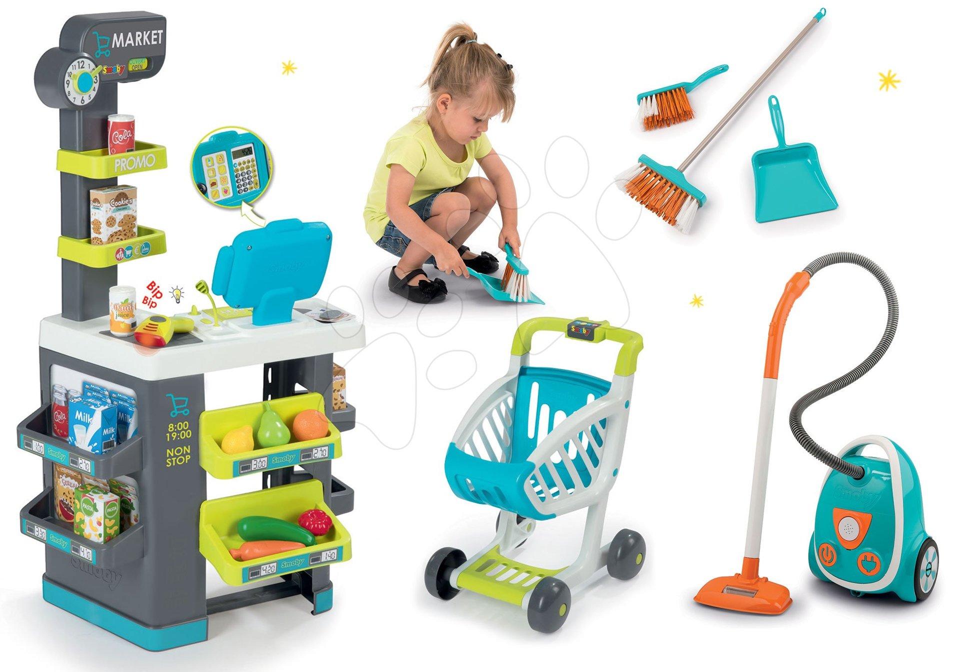 Smoby set obchod s potravinami Market a vysavač se zvukem Vacuum Cleaner se smetákem a lopatkou 350212-7