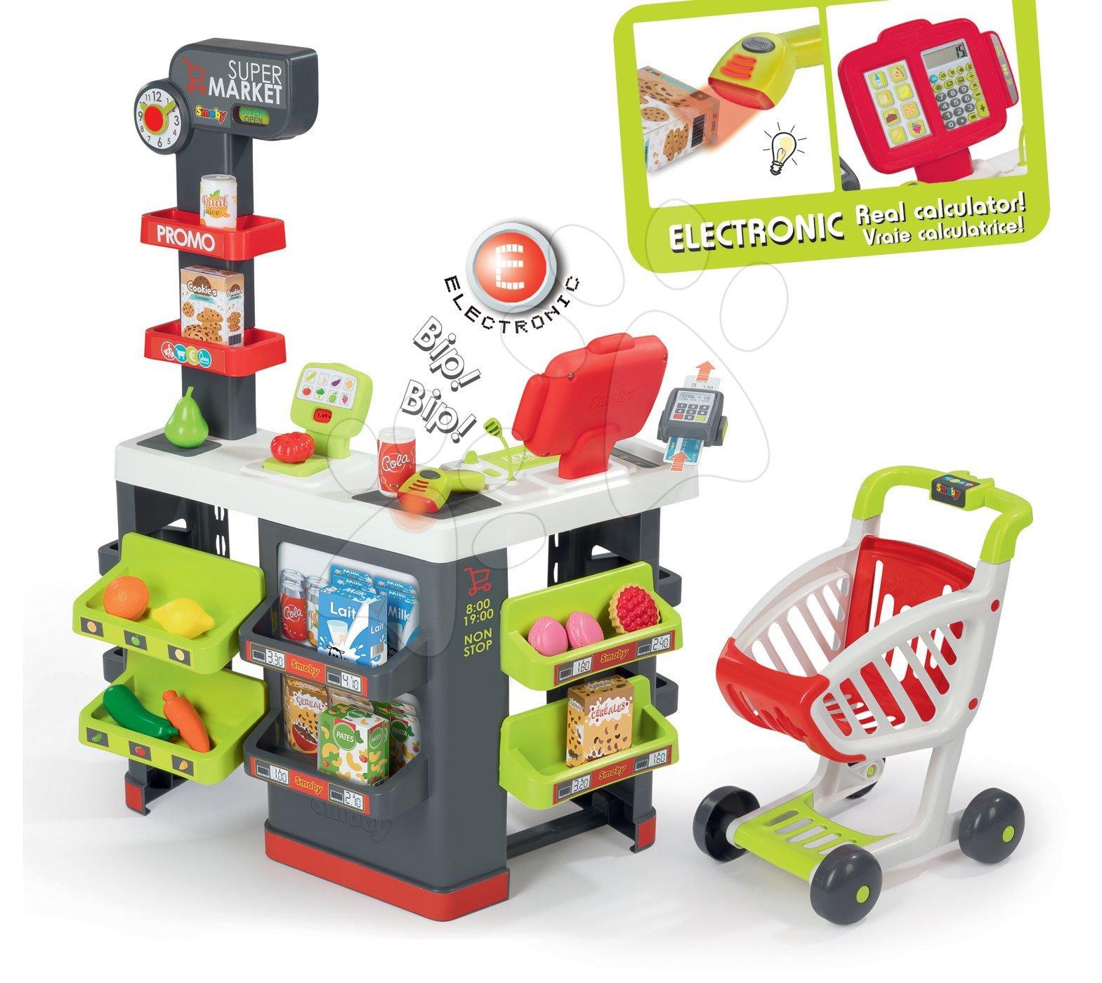 Közért bevásárlókocsival Supermarket Smoby piros elektronikus pénztárgéppel és vonalkódolvasóval, mérleggel 42 kiegészítővel