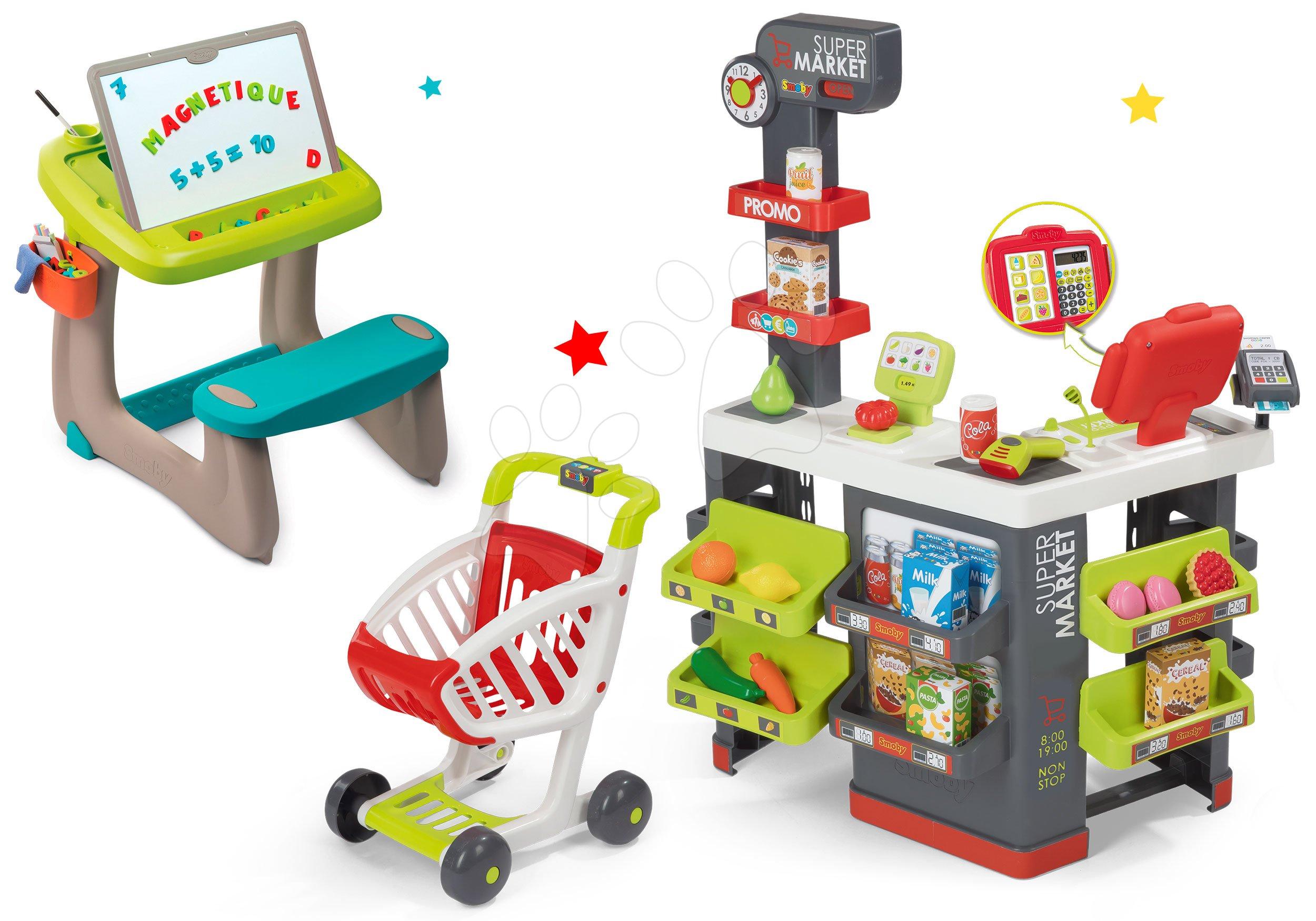 Smoby obchod s vozíkem Supermarket a lavice s odkládacím prostorem a oboustrannou tabulí 350213-1