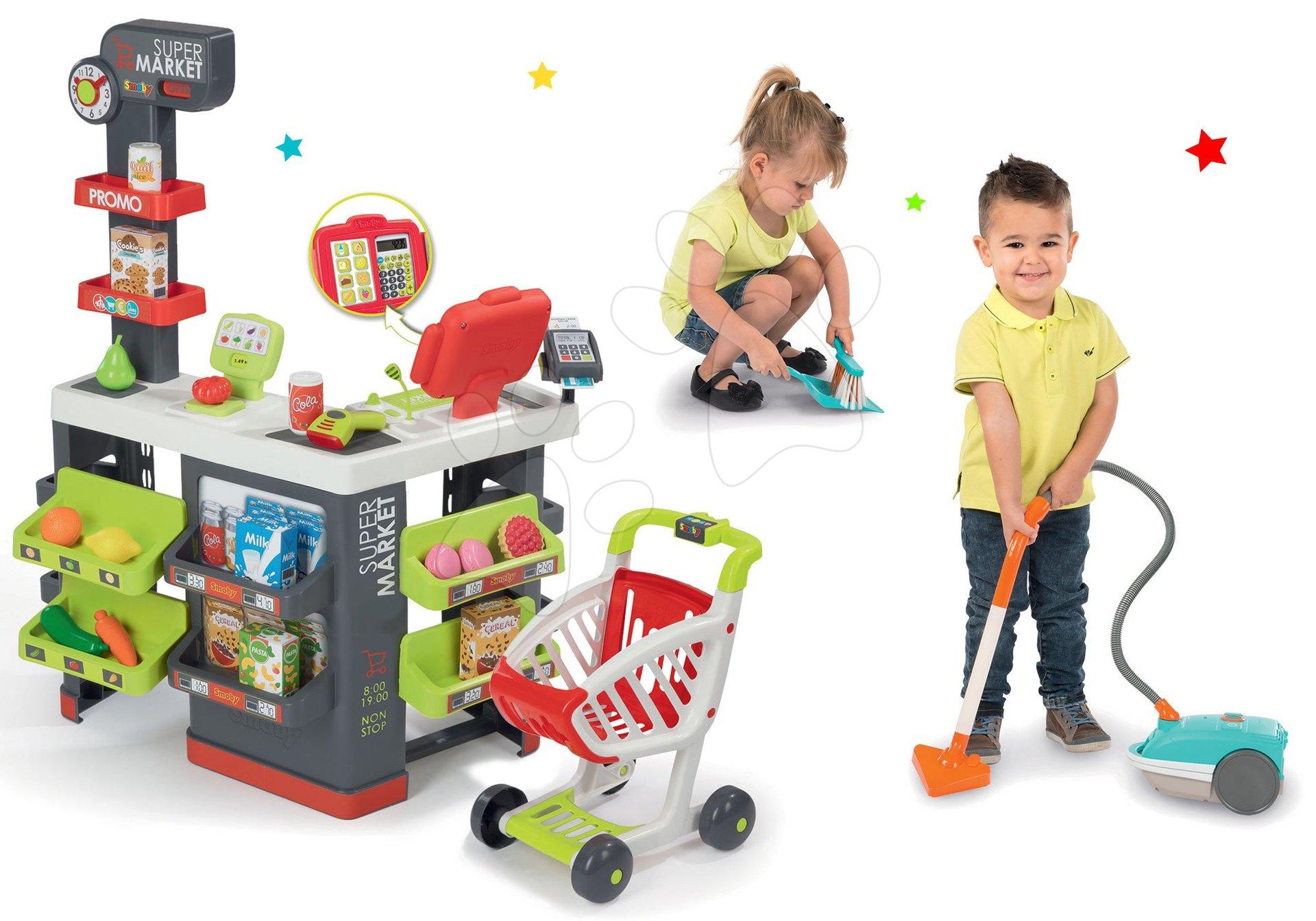 Smoby set obchod s vozíkem Supermarket a vysavač Rowenta Artec 2 se zvukem a smeták s lopatkou 350213-10