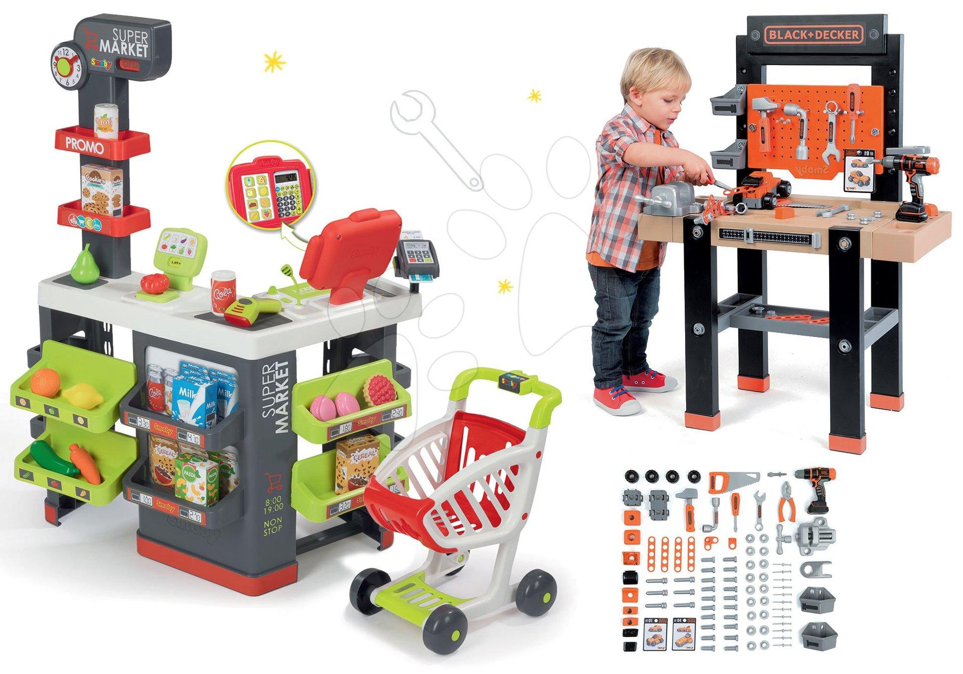 Smoby set obchod s vozíkom Supermarket a pracovní dílna Black+Decker s vrtačkou 350213-11