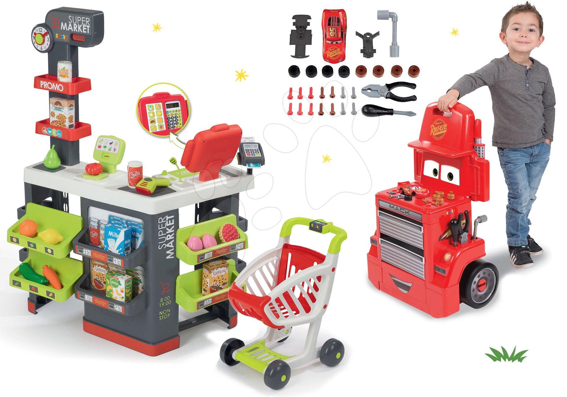 Smoby set obchod s vozíkem Supermarket a pracovní dílna vozík Auta Mack Truck 35013-13