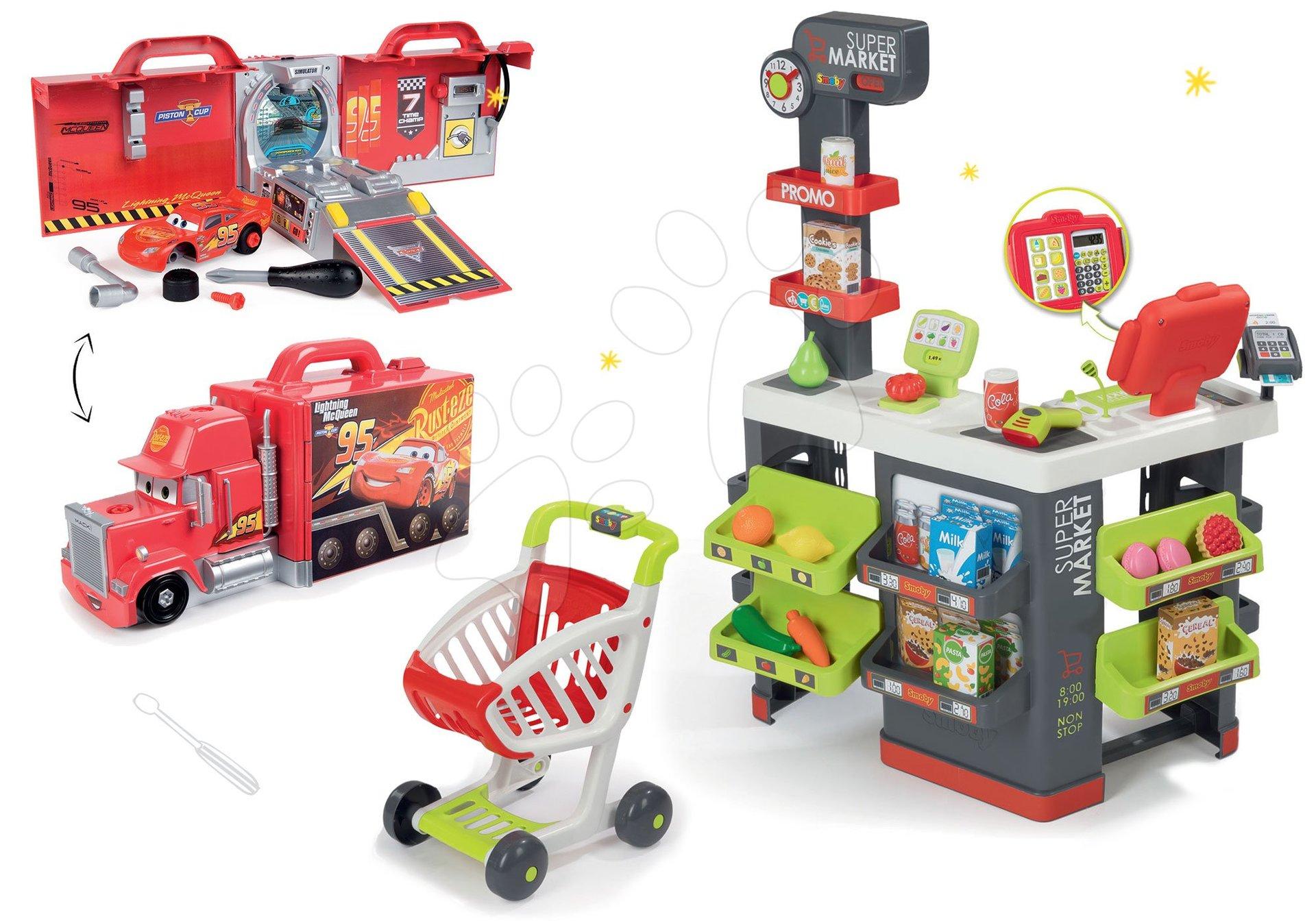Smoby set obchod s vozíkem Supermarket a kamion Auta 3 Mack Truck elektronický 350213-14