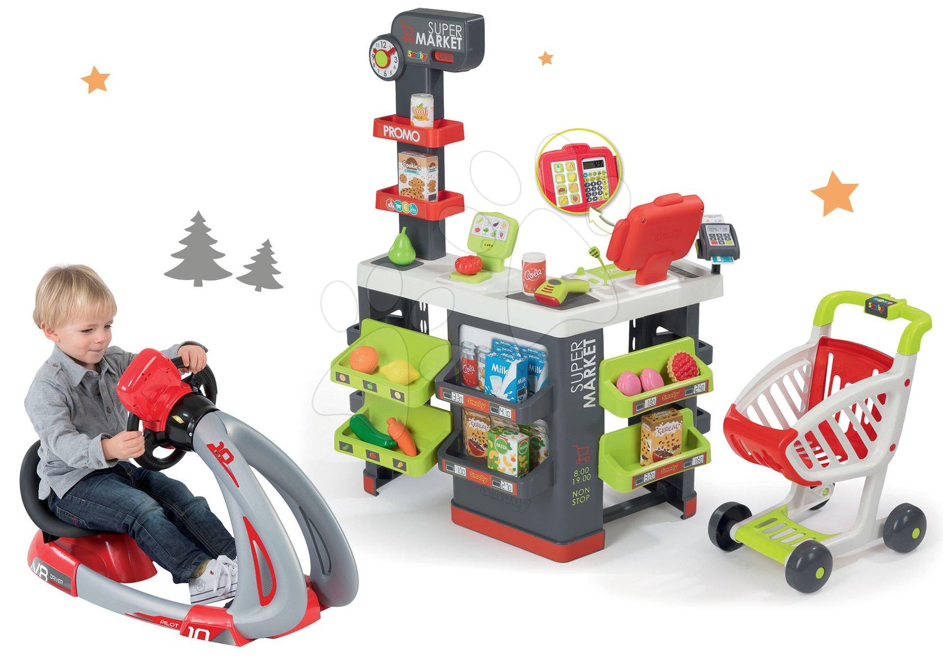 Smoby set obchod s vozíkom Supermarket a trenažér V8 Driver elektronický 350213-15
