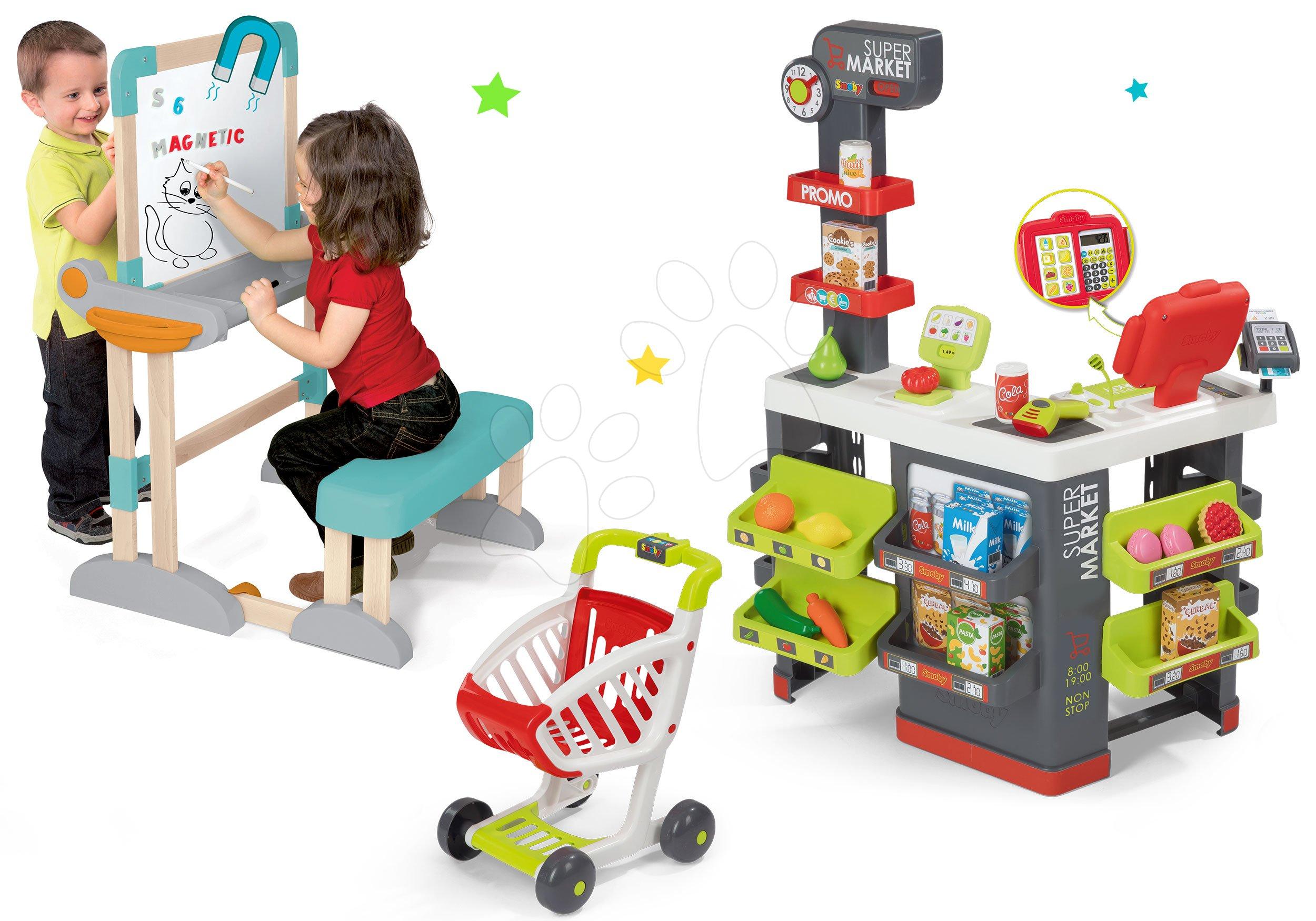 Smoby set obchod s vozíkem Supermarket a dřevěná lavice Modulo Space 2v1 350213-16