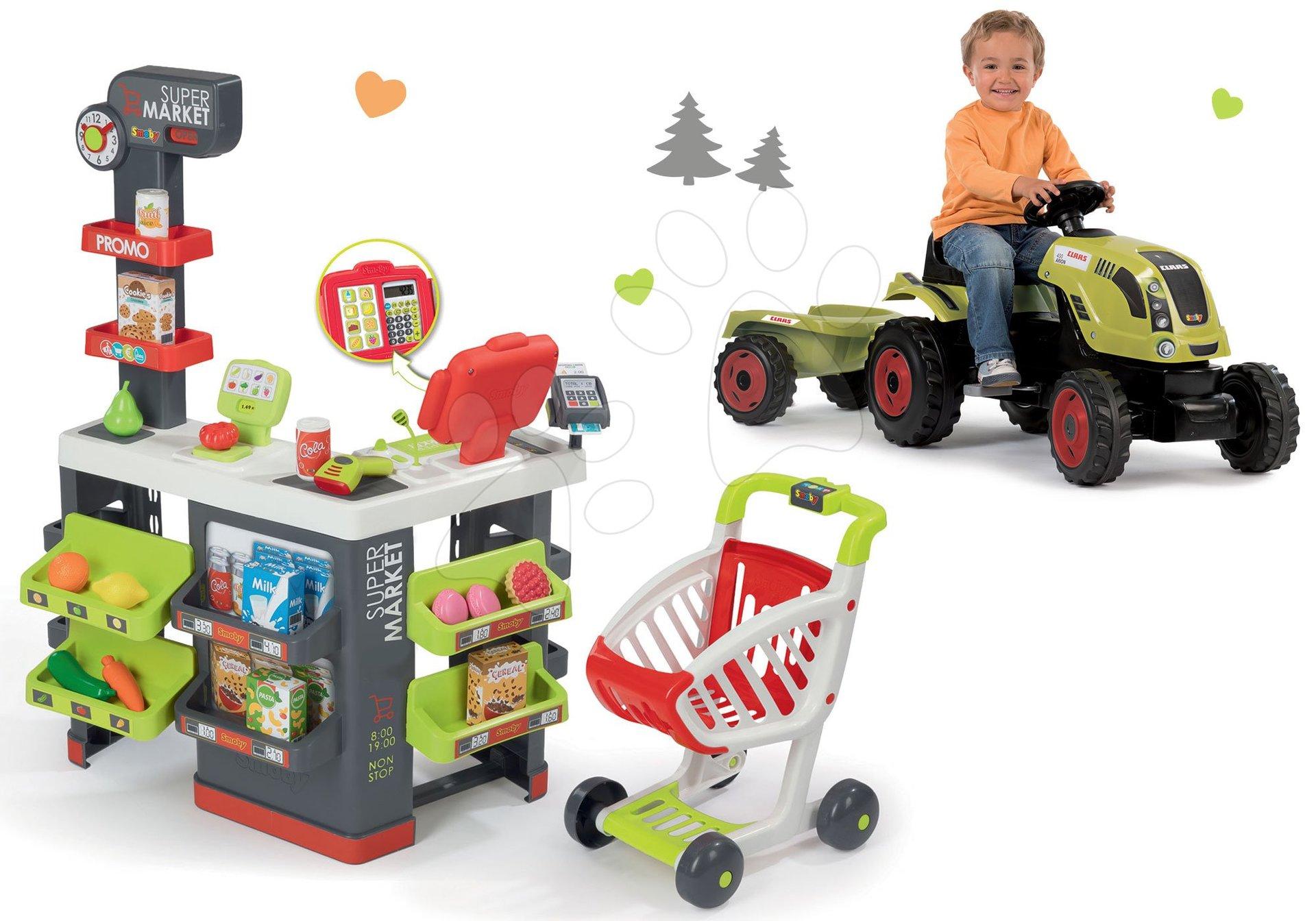 Smoby set obchod s vozíkom Supermarket a traktor na šliapanie Claas Farmer XL s prívesom 350213-17